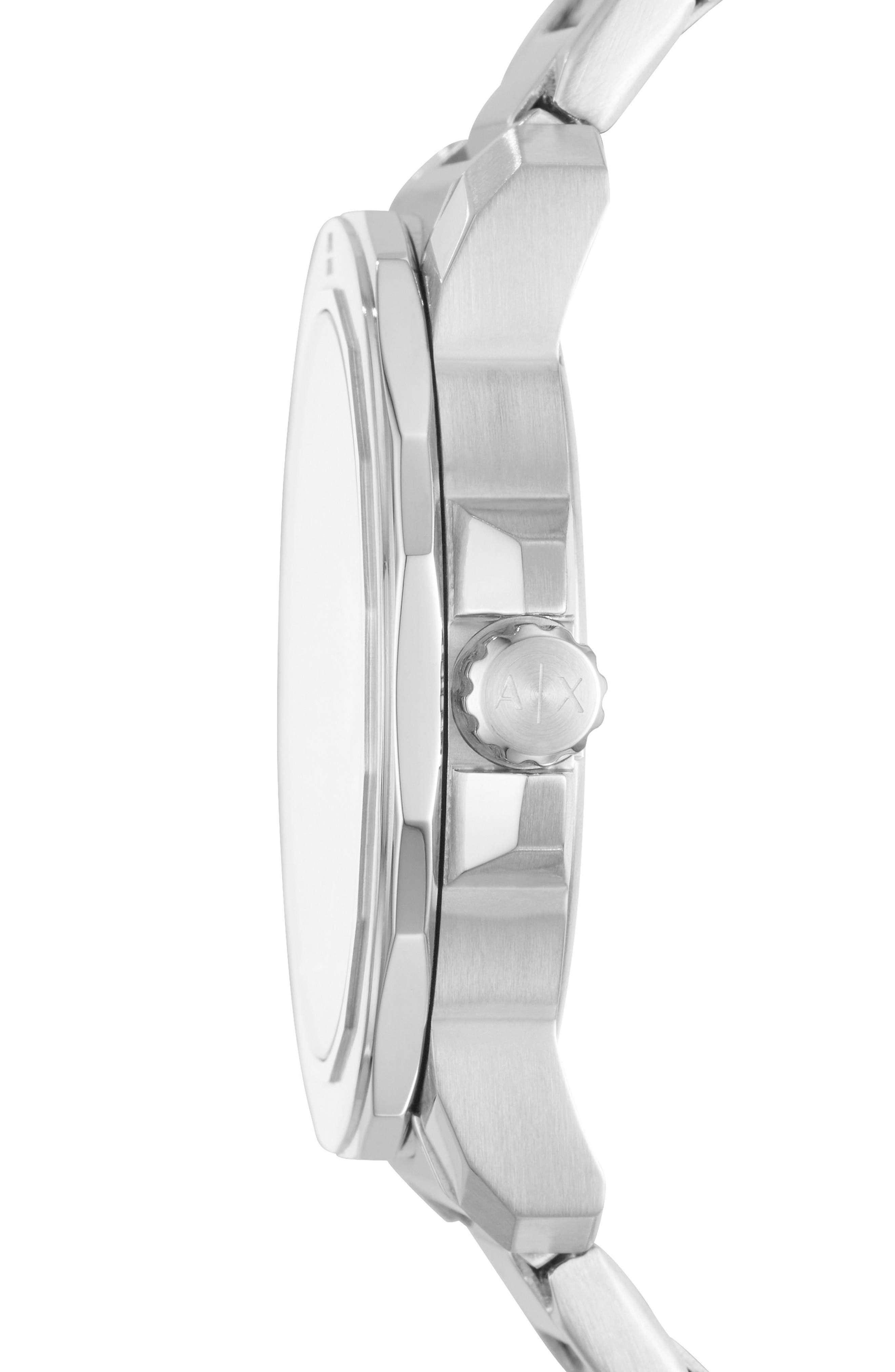 Three-Hand Bracelet Watch, 44mm x 52mm,                             Alternate thumbnail 2, color,                             White/ Stainless Steel