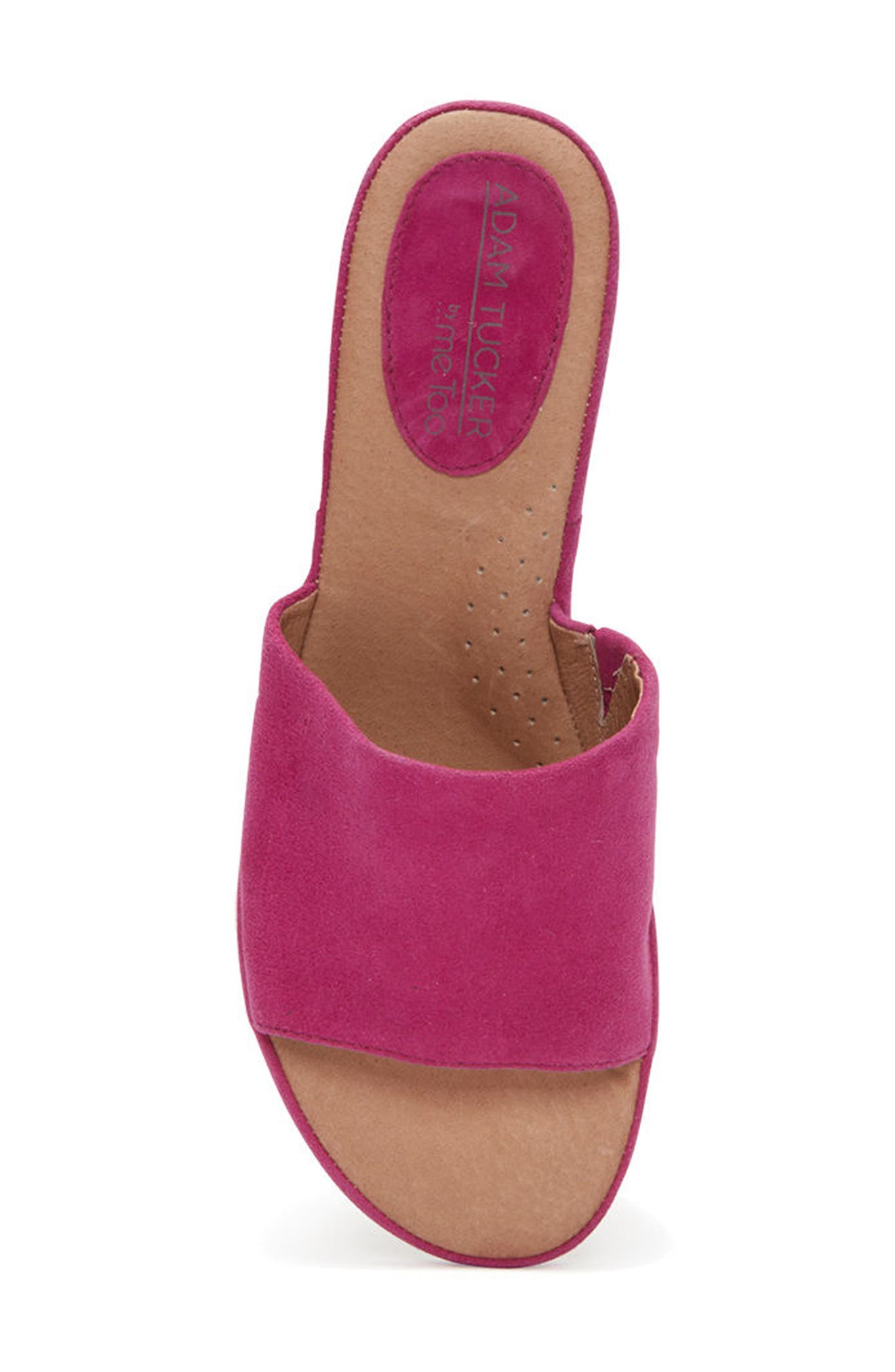 Adam Tucker Yolo Sandal,                             Alternate thumbnail 4, color,                             Fuchsia Suede