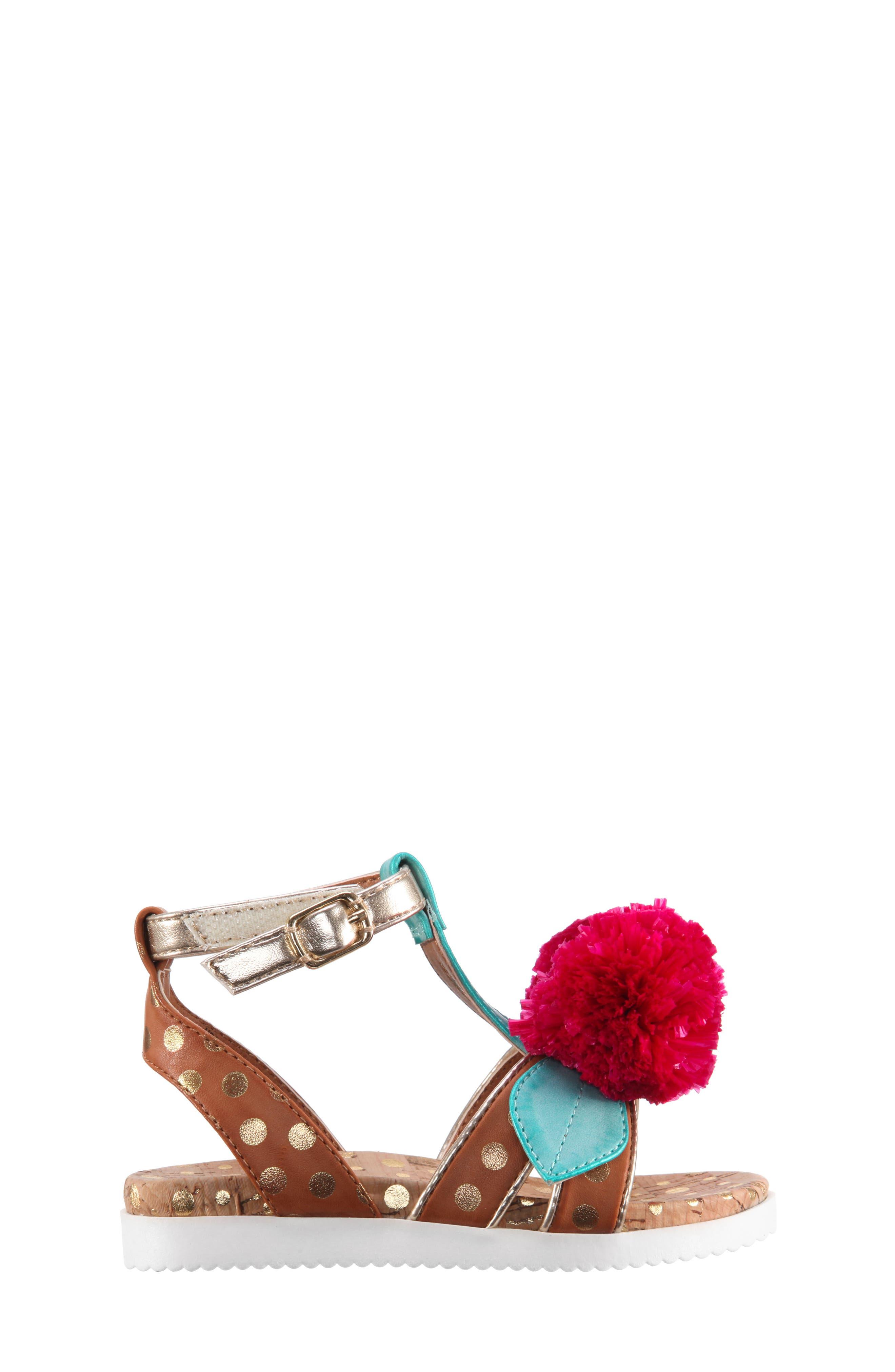 Kyeleigh Pom Flower Sandal,                             Alternate thumbnail 3, color,                             Light Tan Burnish