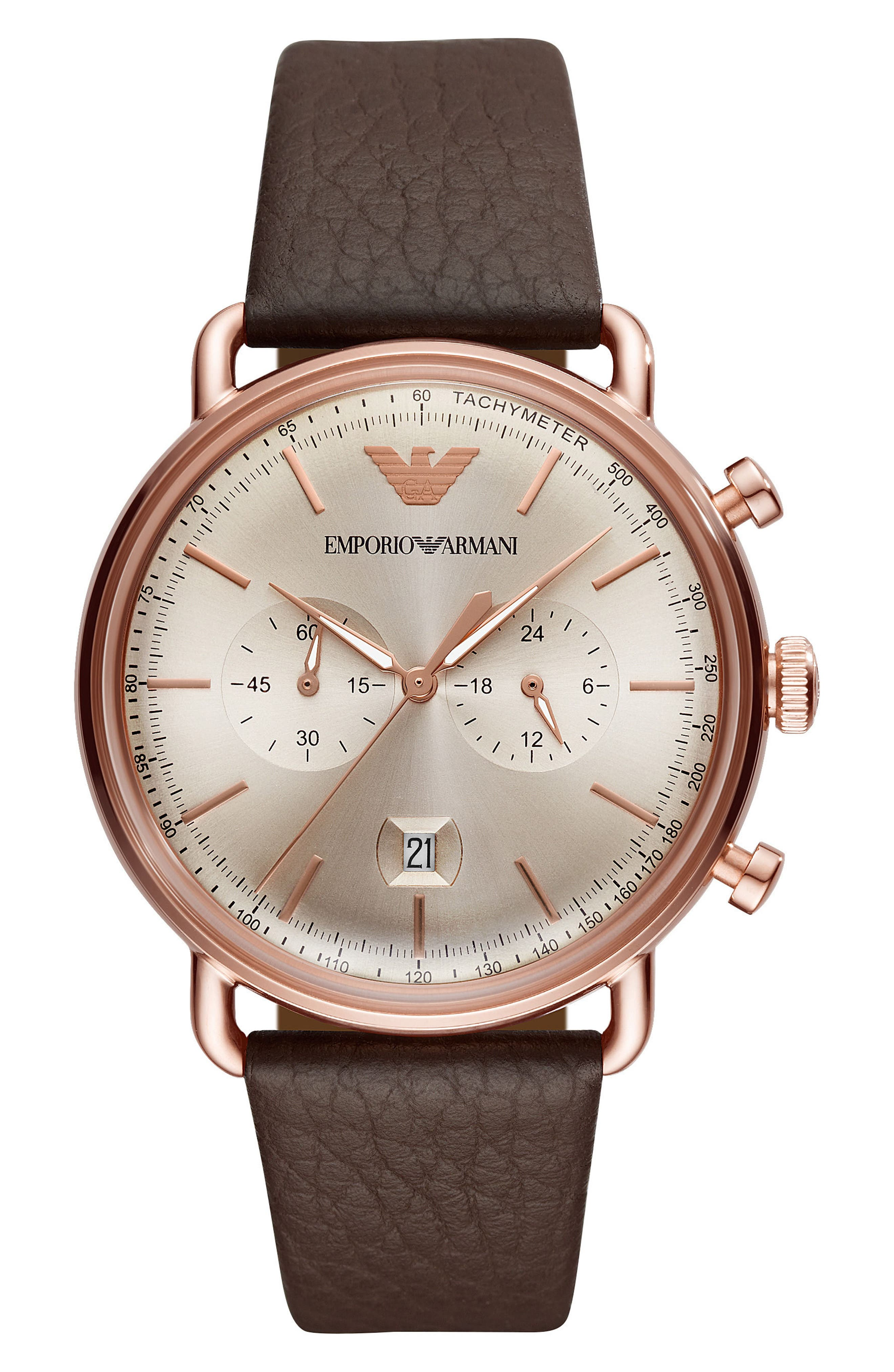 Leather Strap Chronograph Watch, 43mm,                             Main thumbnail 1, color,                             Silver/ Brown