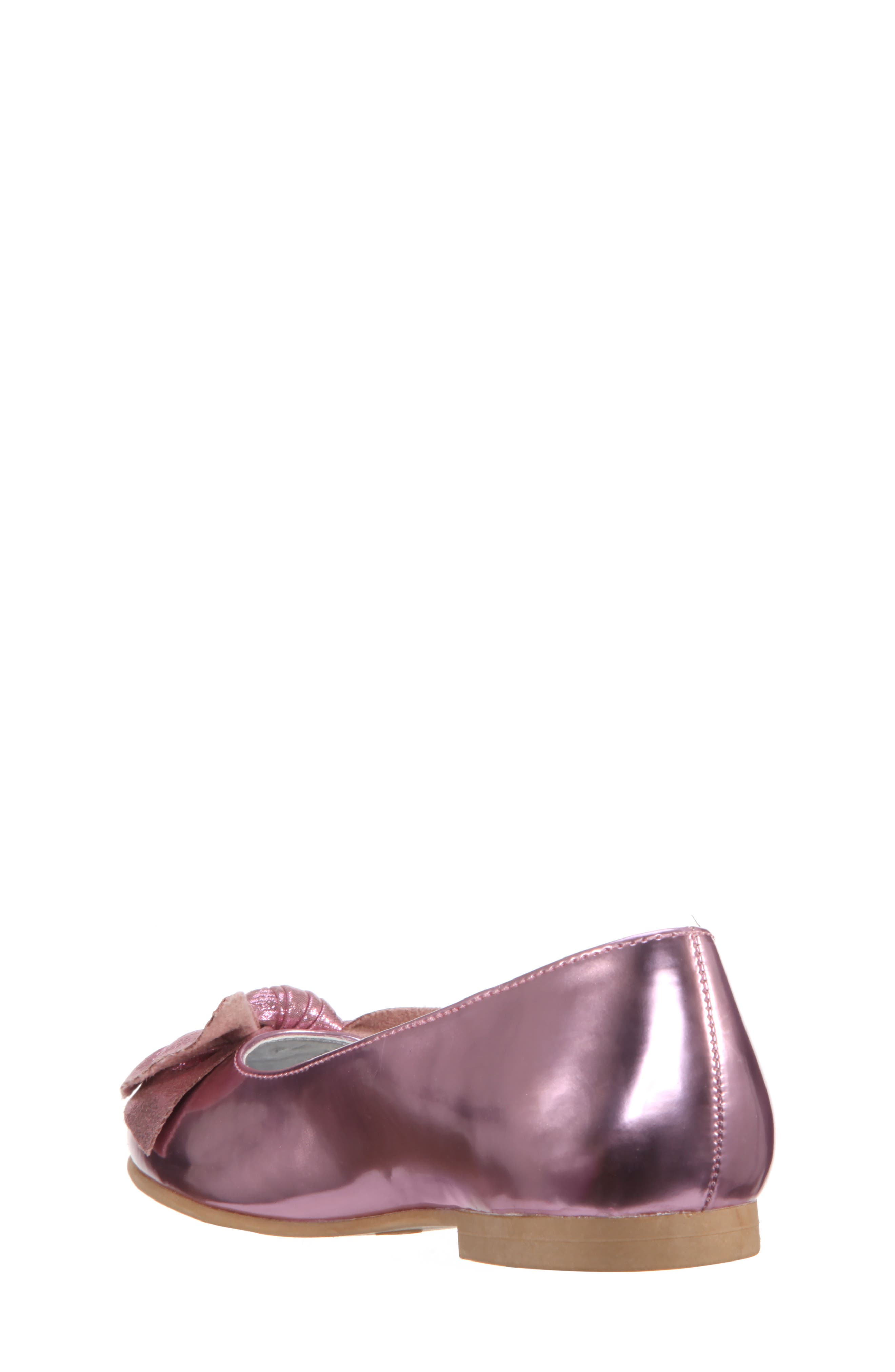Katelyn Glitter Bow Metallic Ballet Flat,                             Alternate thumbnail 2, color,                             Pink Mirror Metallic