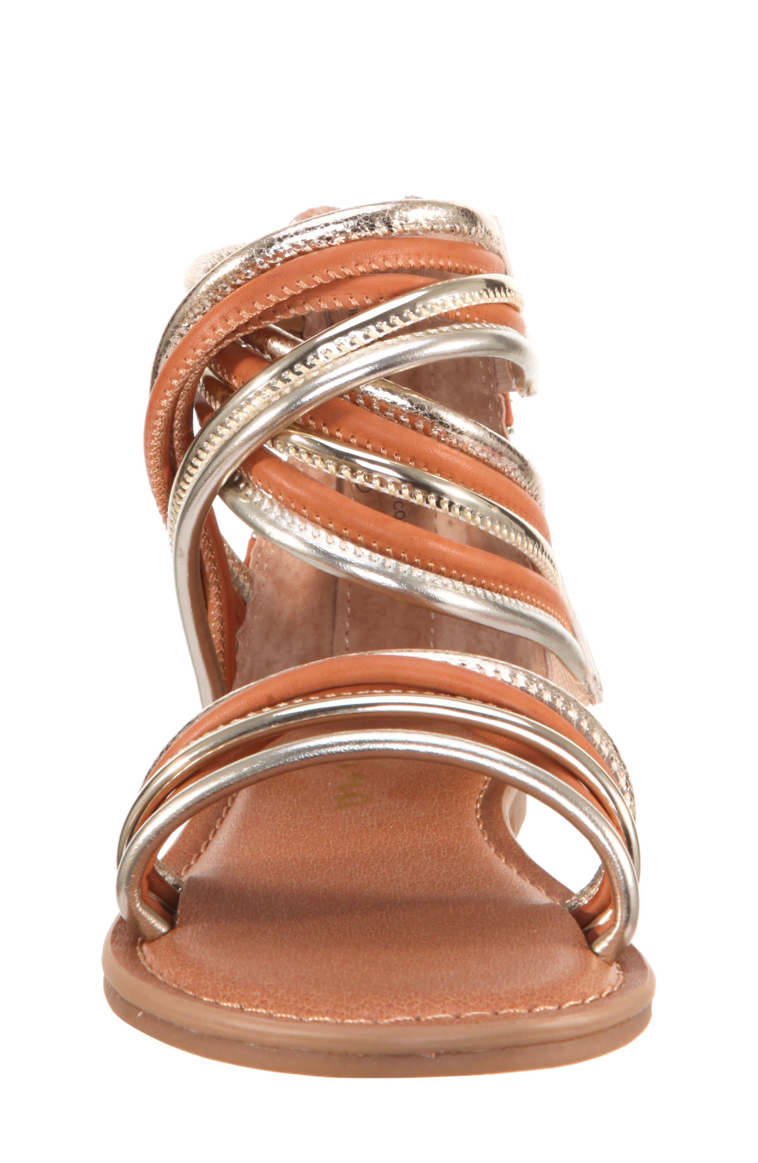 Roxsanne Multistrap Sandal,                             Alternate thumbnail 4, color,                             Platino Metallic