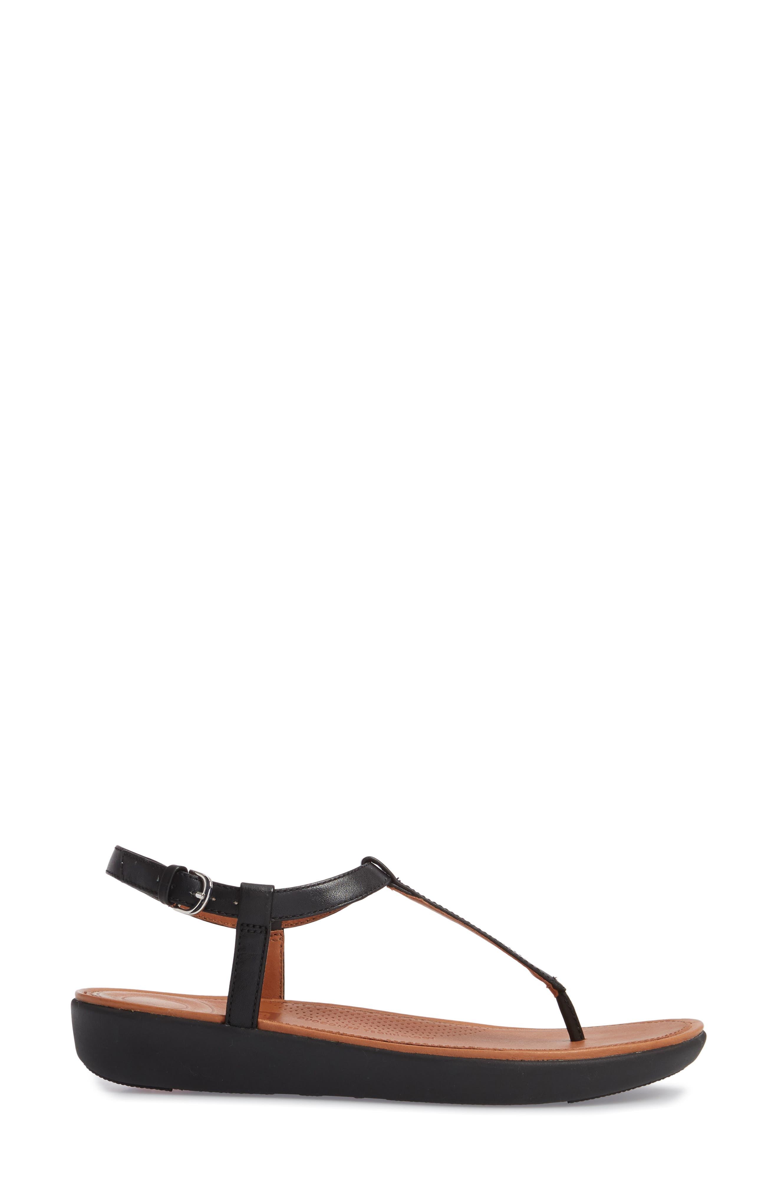 Tia Thong Sandal,                             Alternate thumbnail 3, color,                             Black Leather