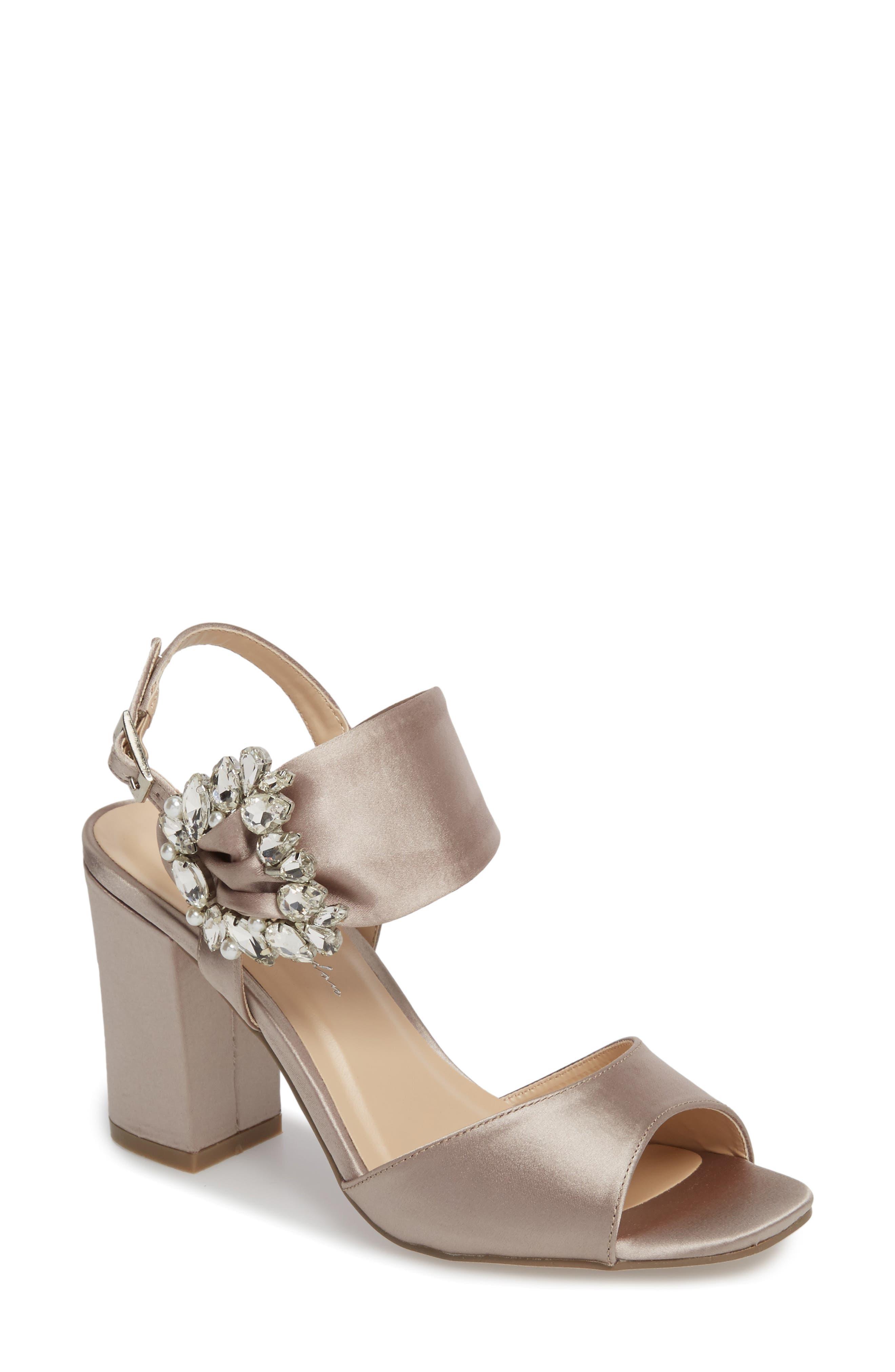 Manhattan Embellished Sandal,                         Main,                         color, Taupe Satin