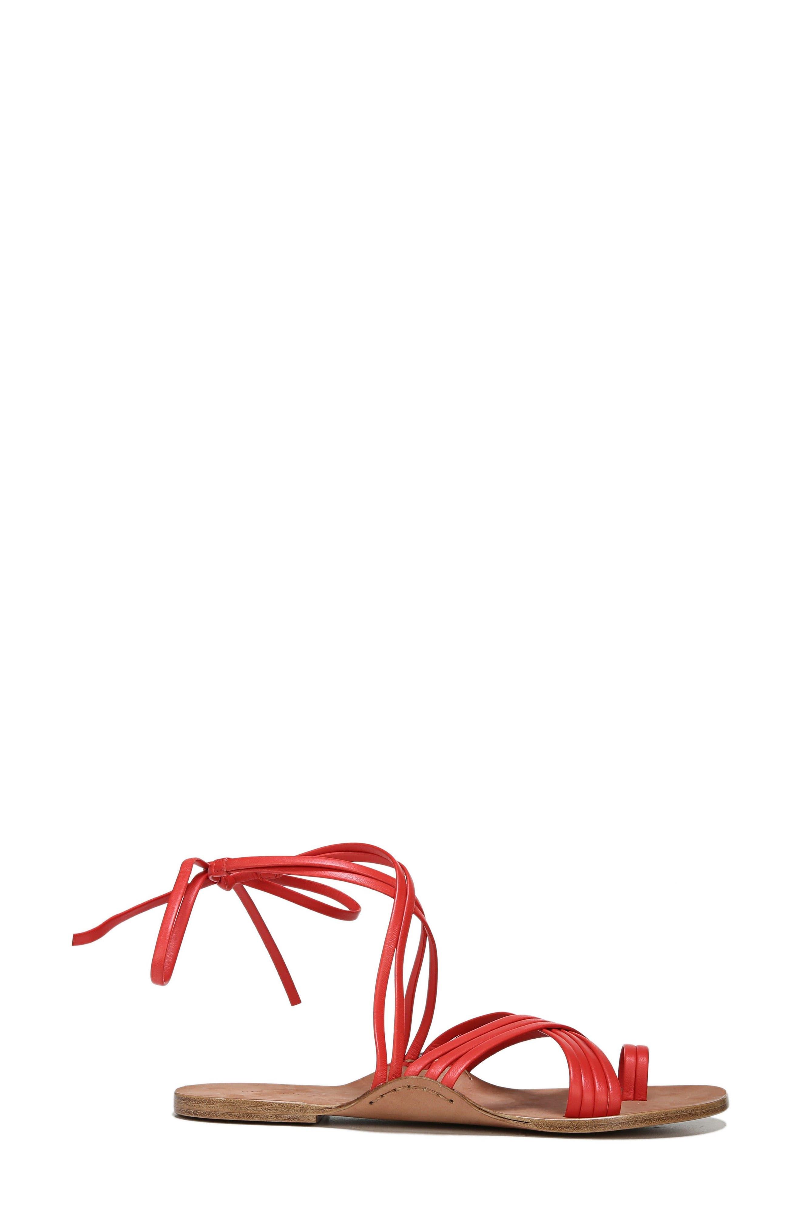 Allegra Sandal,                             Alternate thumbnail 3, color,                             Poppy Red Leather