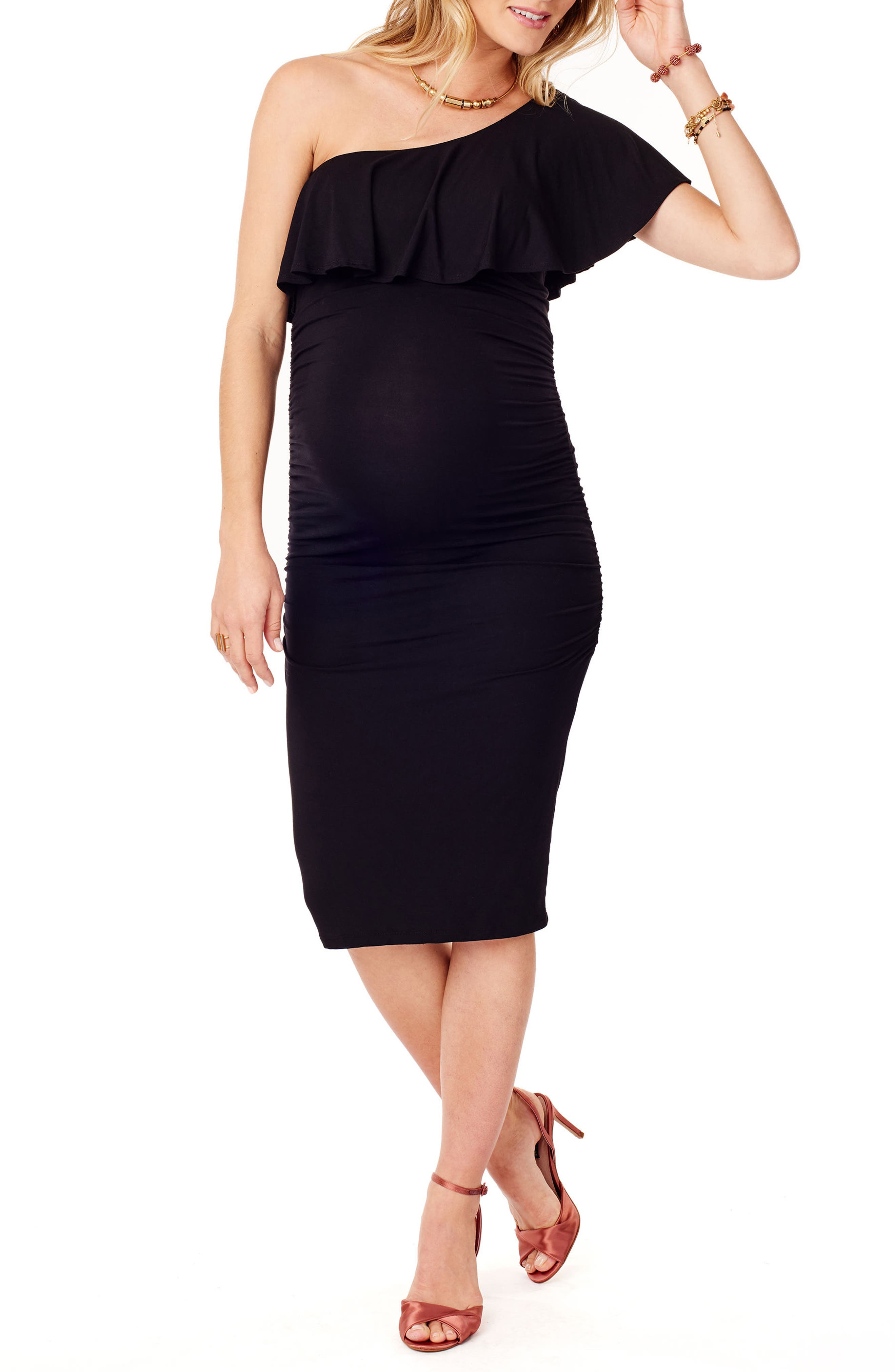 Ruffle One-Shoulder Maternity Dress,                         Main,                         color, Jet Black