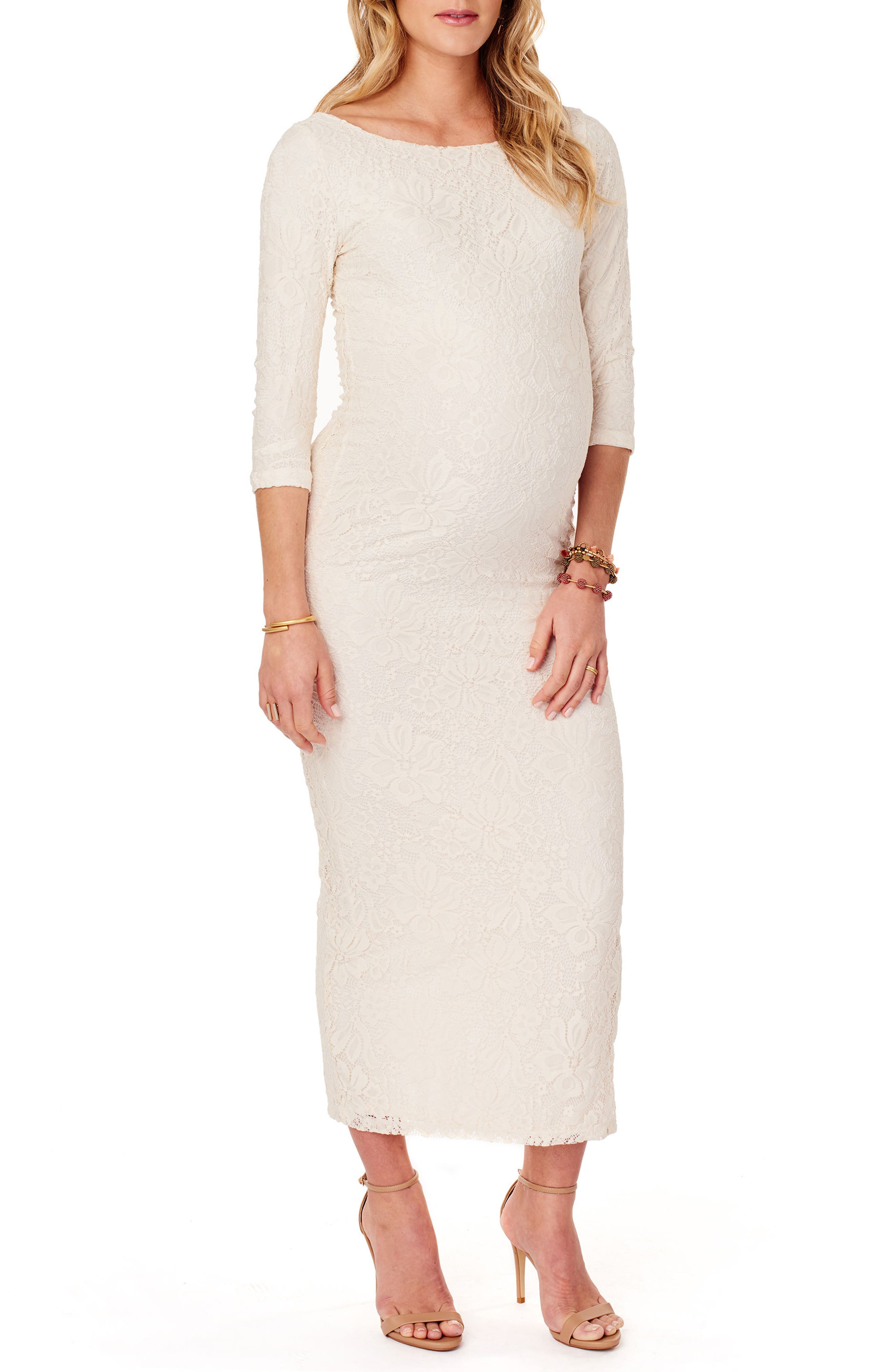 Ingrid & Isabel® Lace Column Maternity Maxi Dress