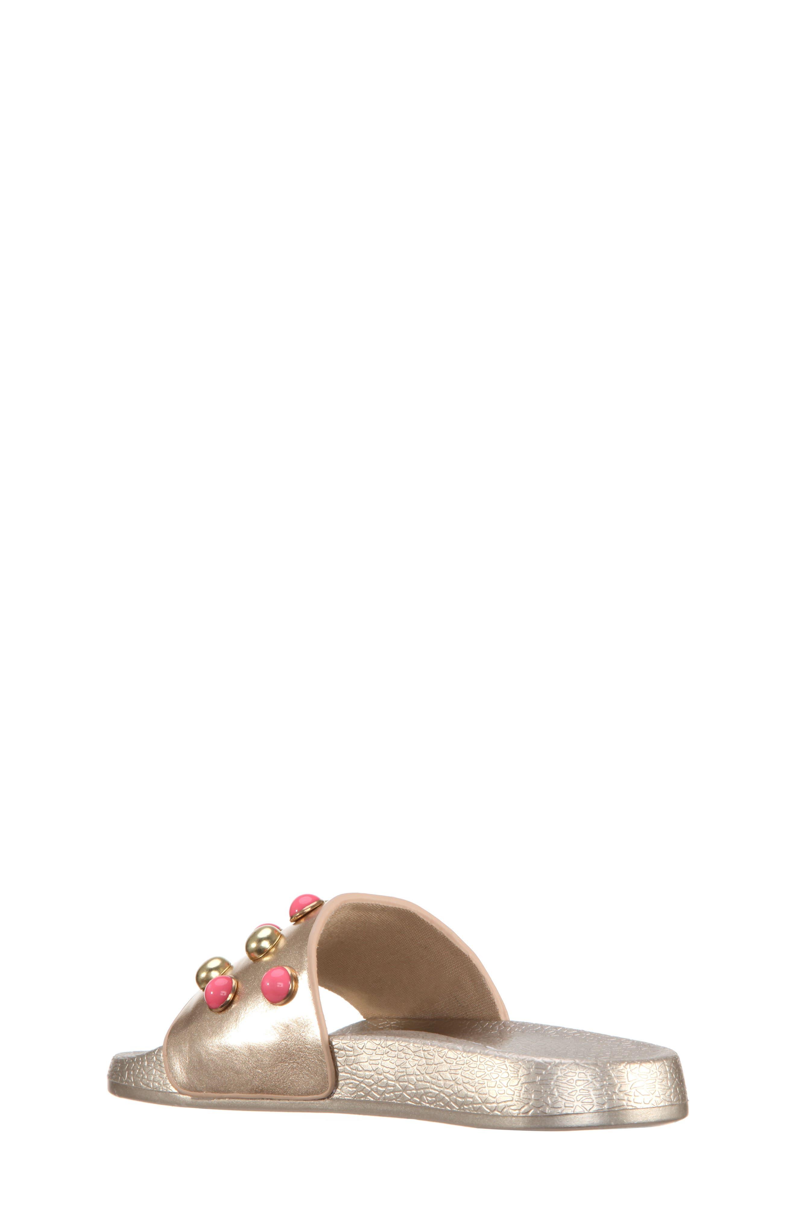 Jeaninne II Metallic Sport Slide Sandal,                             Alternate thumbnail 2, color,                             Platino Metallic