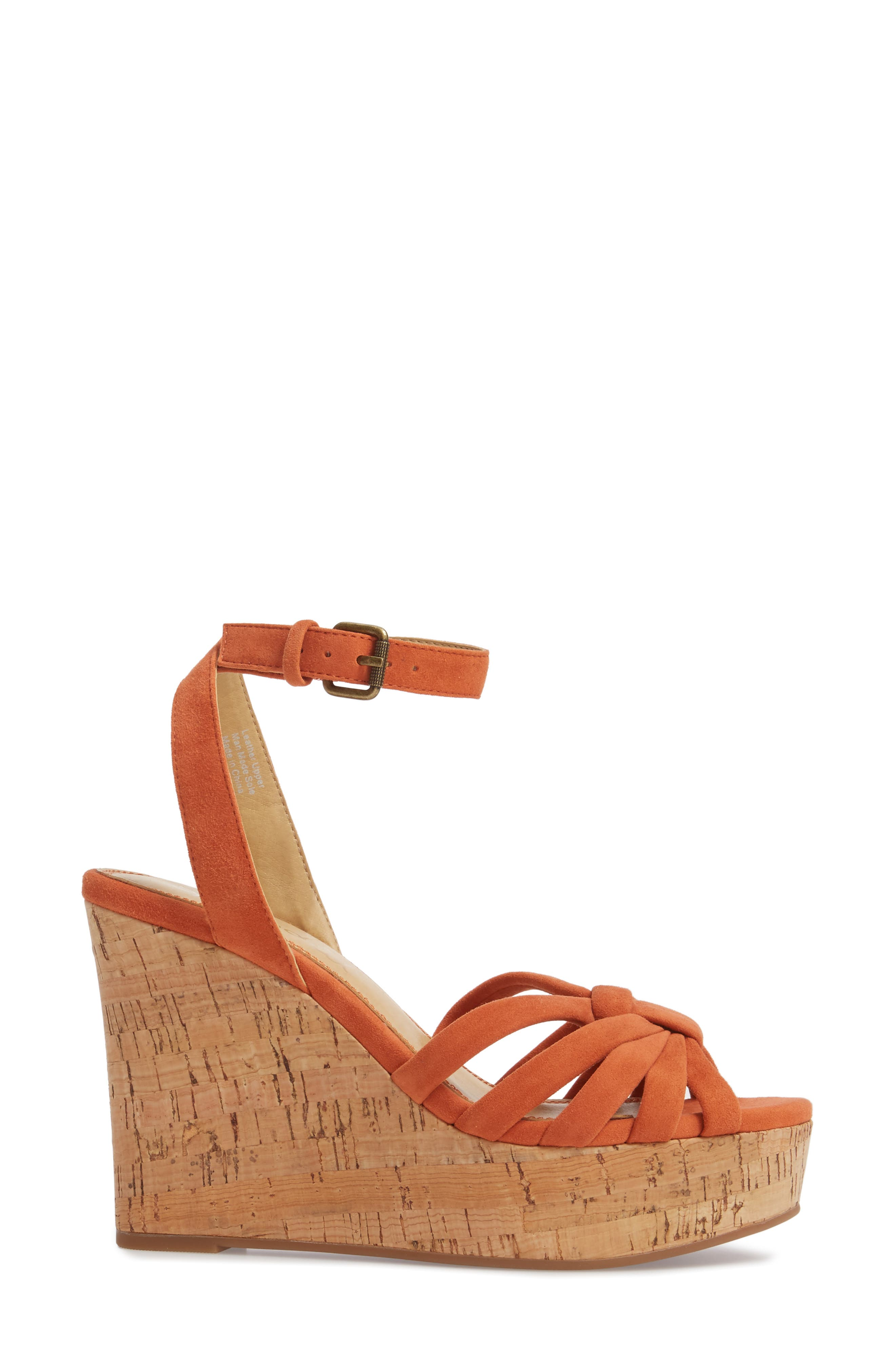 Fallon Wedge Sandal,                             Alternate thumbnail 3, color,                             Coral Suede