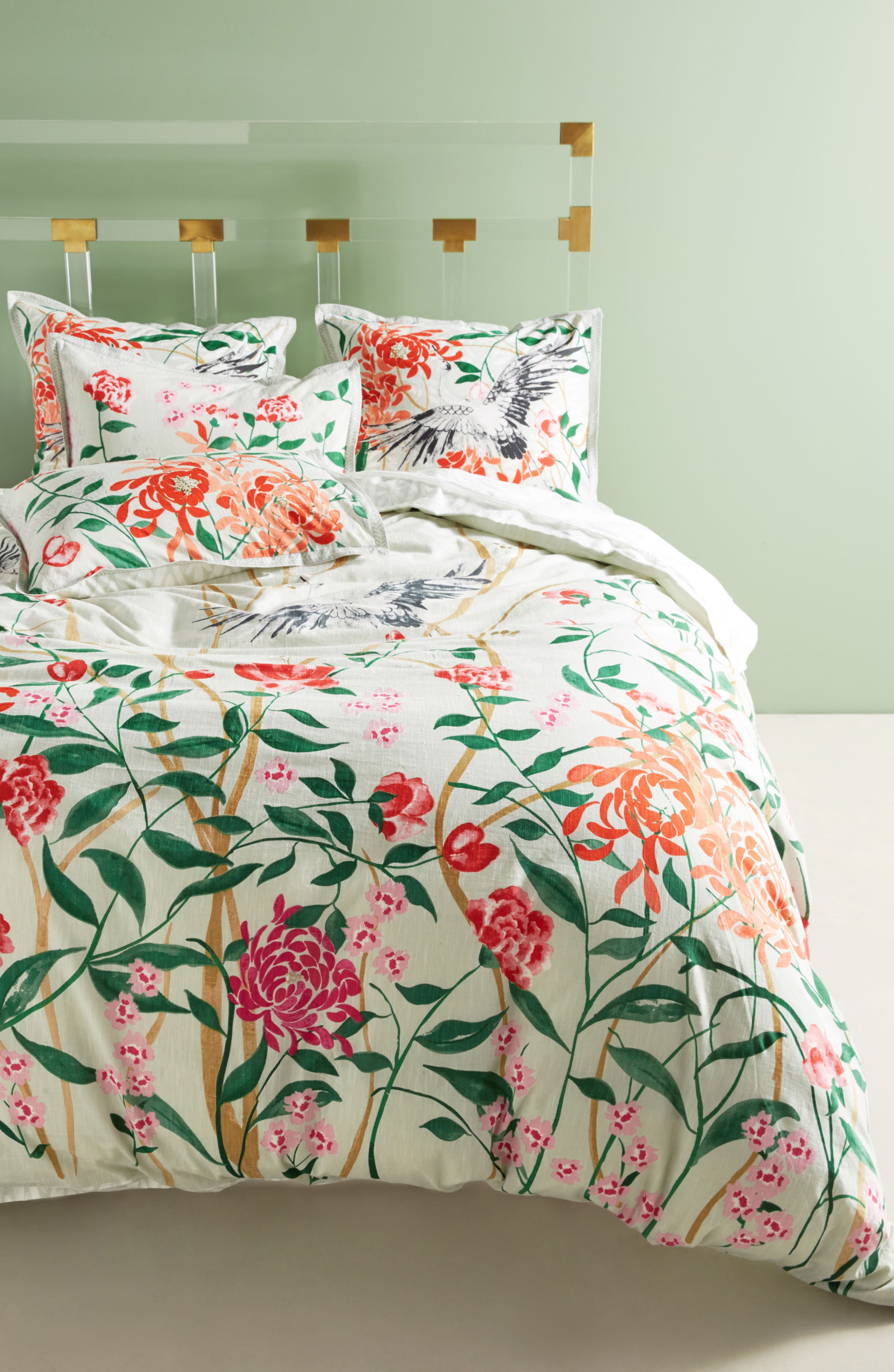 Wicklow Duvet Cover,                             Main thumbnail 1, color,                             Moss