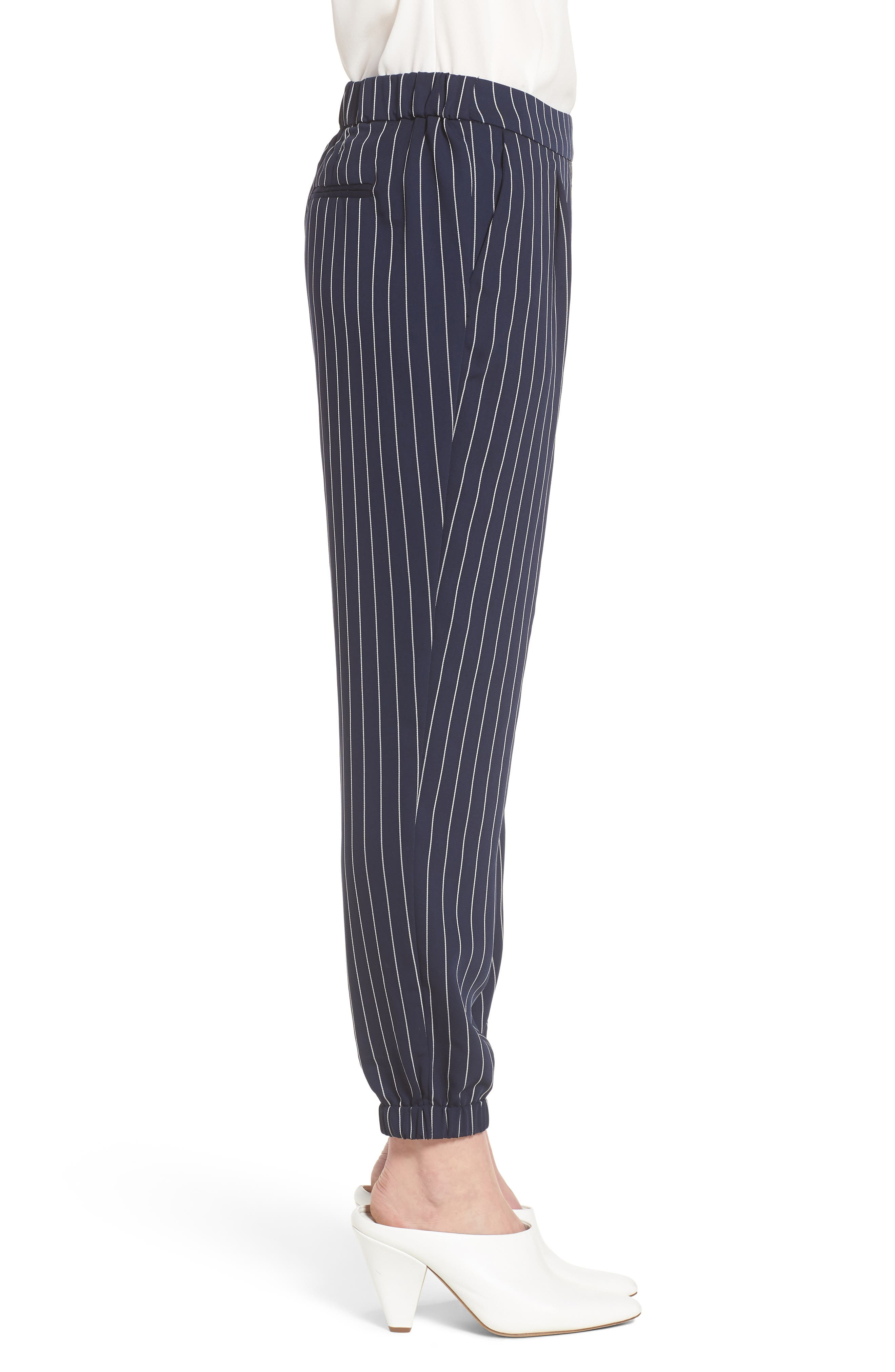 Stripe Jogger Pants,                             Alternate thumbnail 3, color,                             Navy- Ivory Emma Stripe