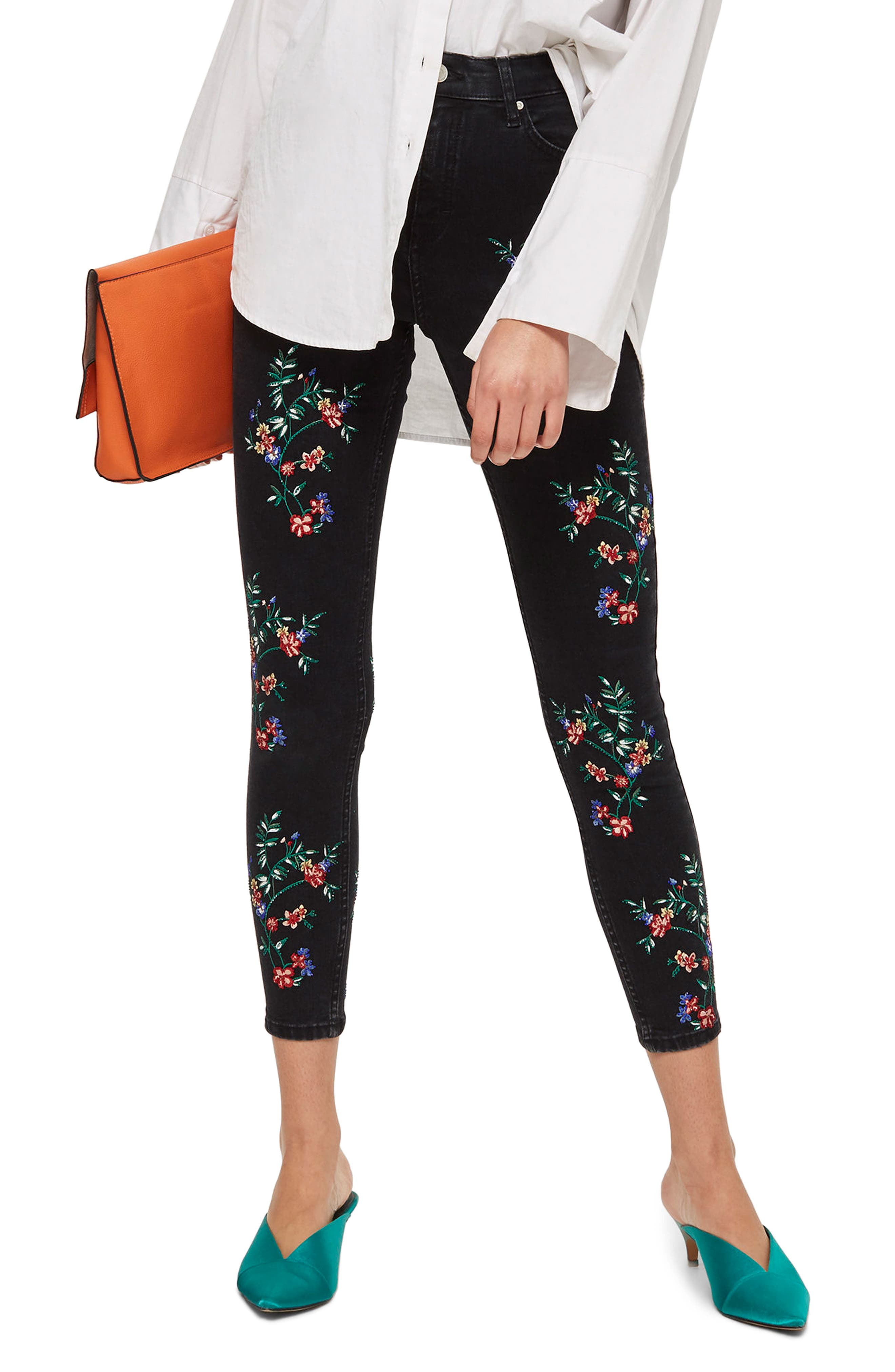 Topshop Jamie Embroidered Ankle Skinny Jeans