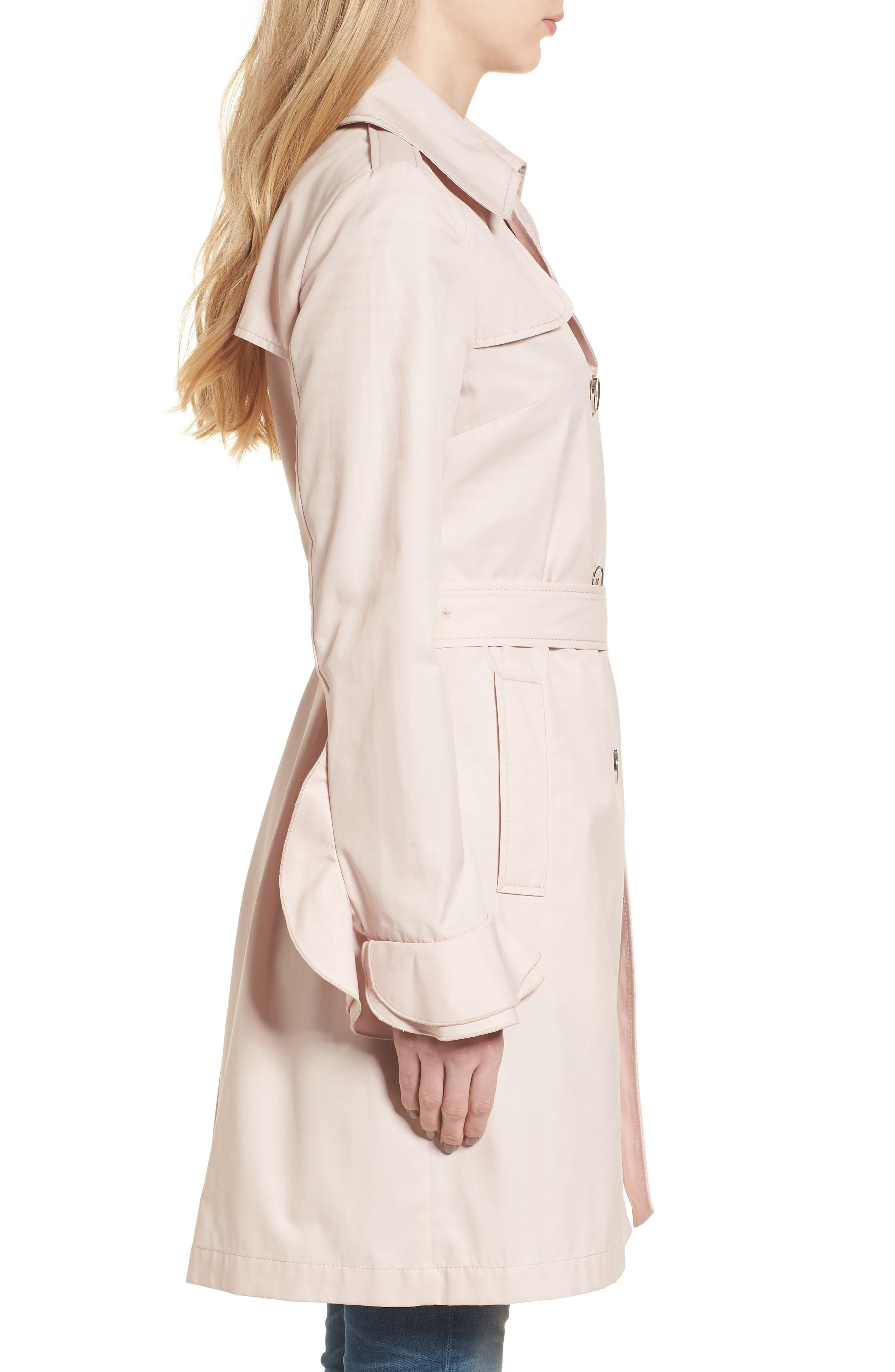 Stella Ruffle Sleeve Trench Coat,                             Alternate thumbnail 3, color,                             Dusty Pink