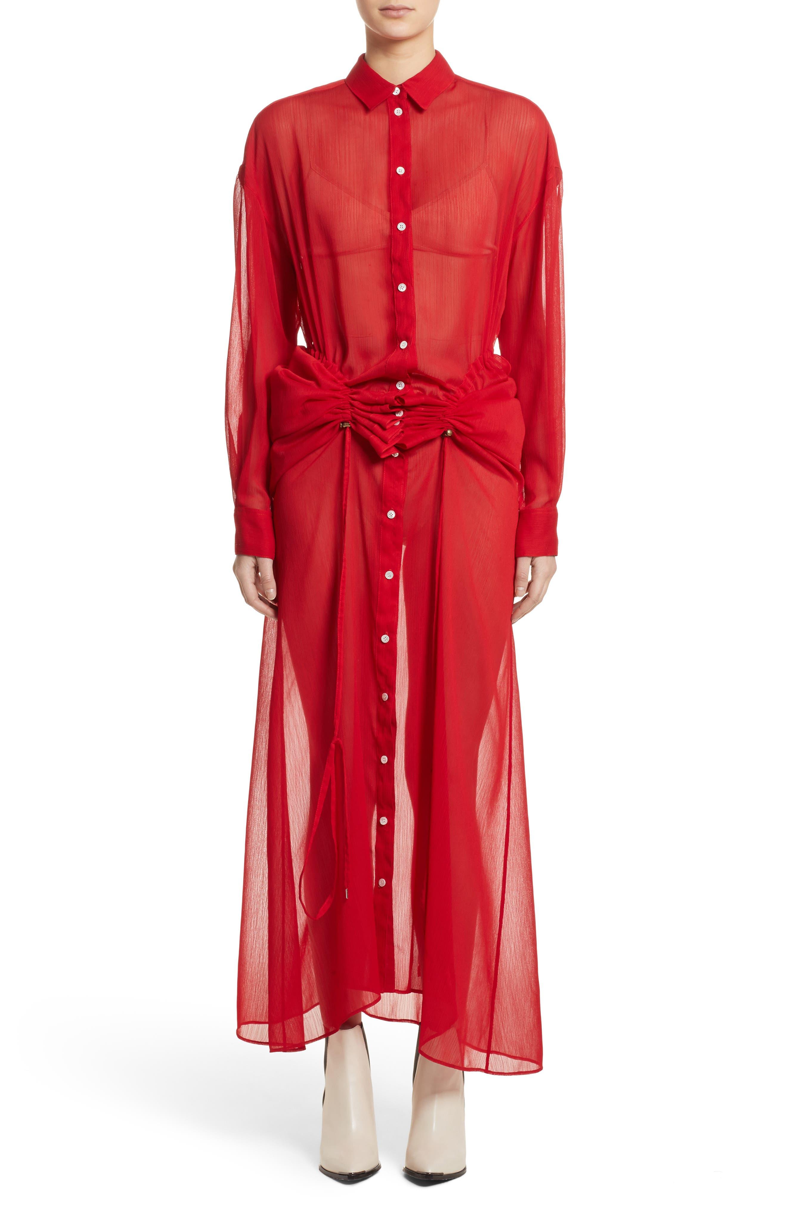 Sheer Drawstring Shirtdress,                             Main thumbnail 1, color,                             Red