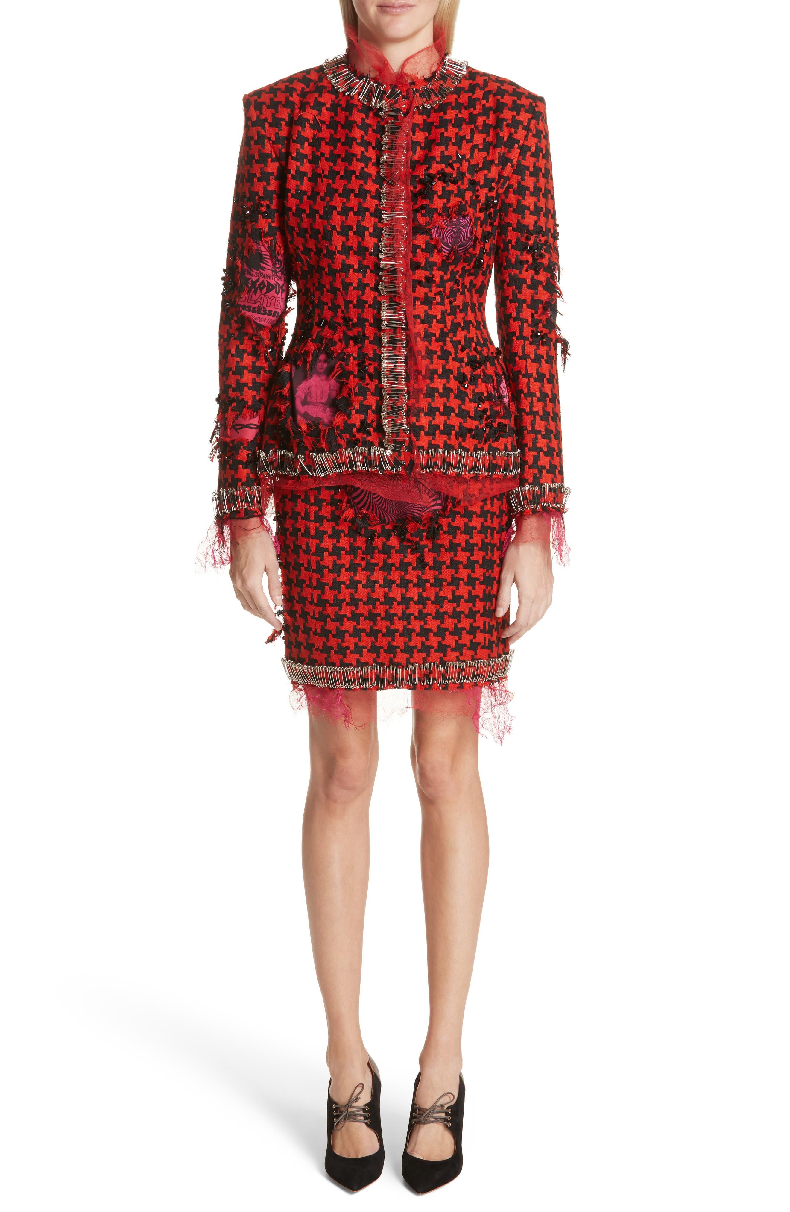 Prime Minister Houndstooth Wool Skirt,                             Alternate thumbnail 7, color,                             Red