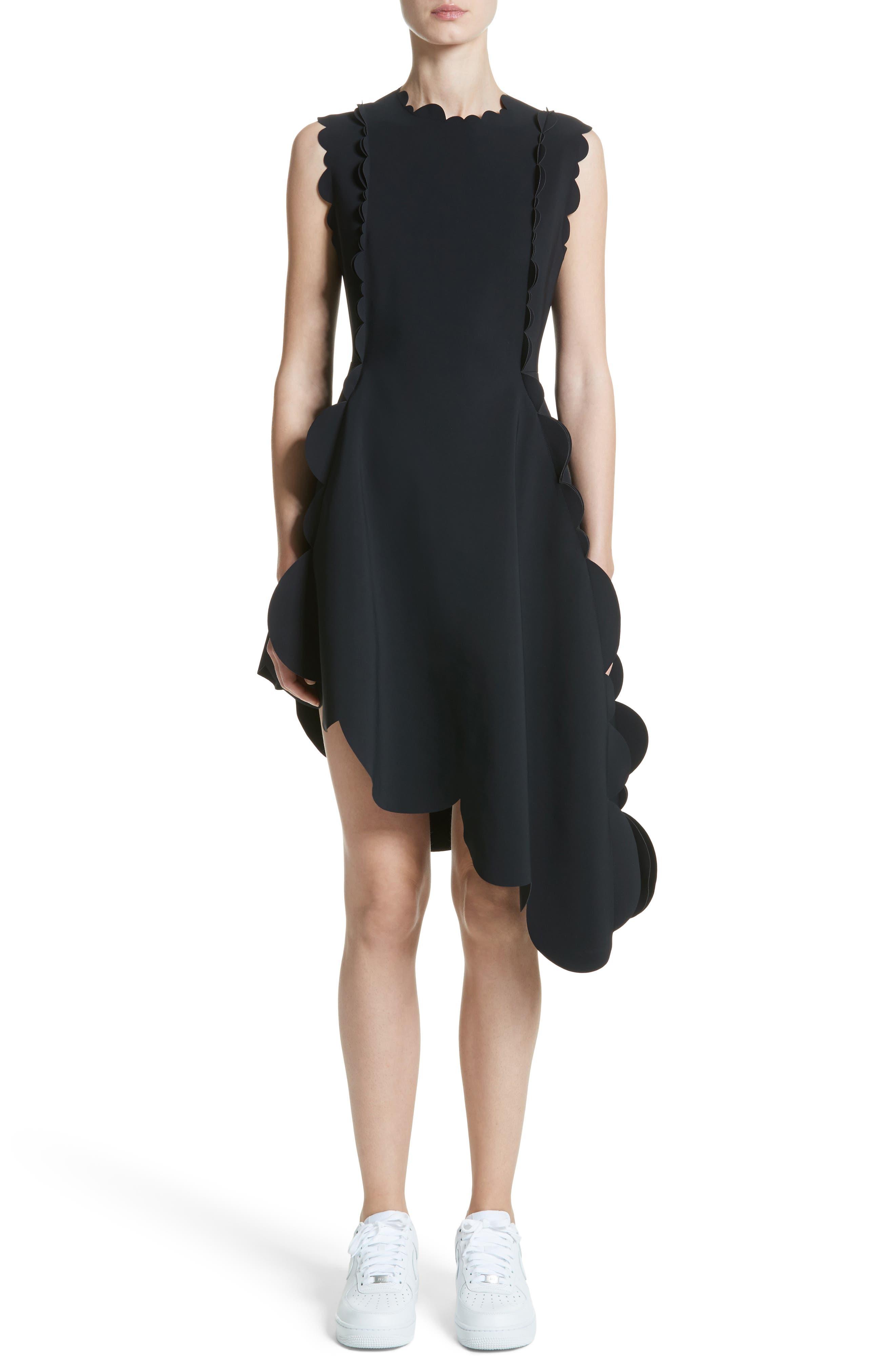 PASKAL Scallop Asymmetrical Fit & Flare Dress