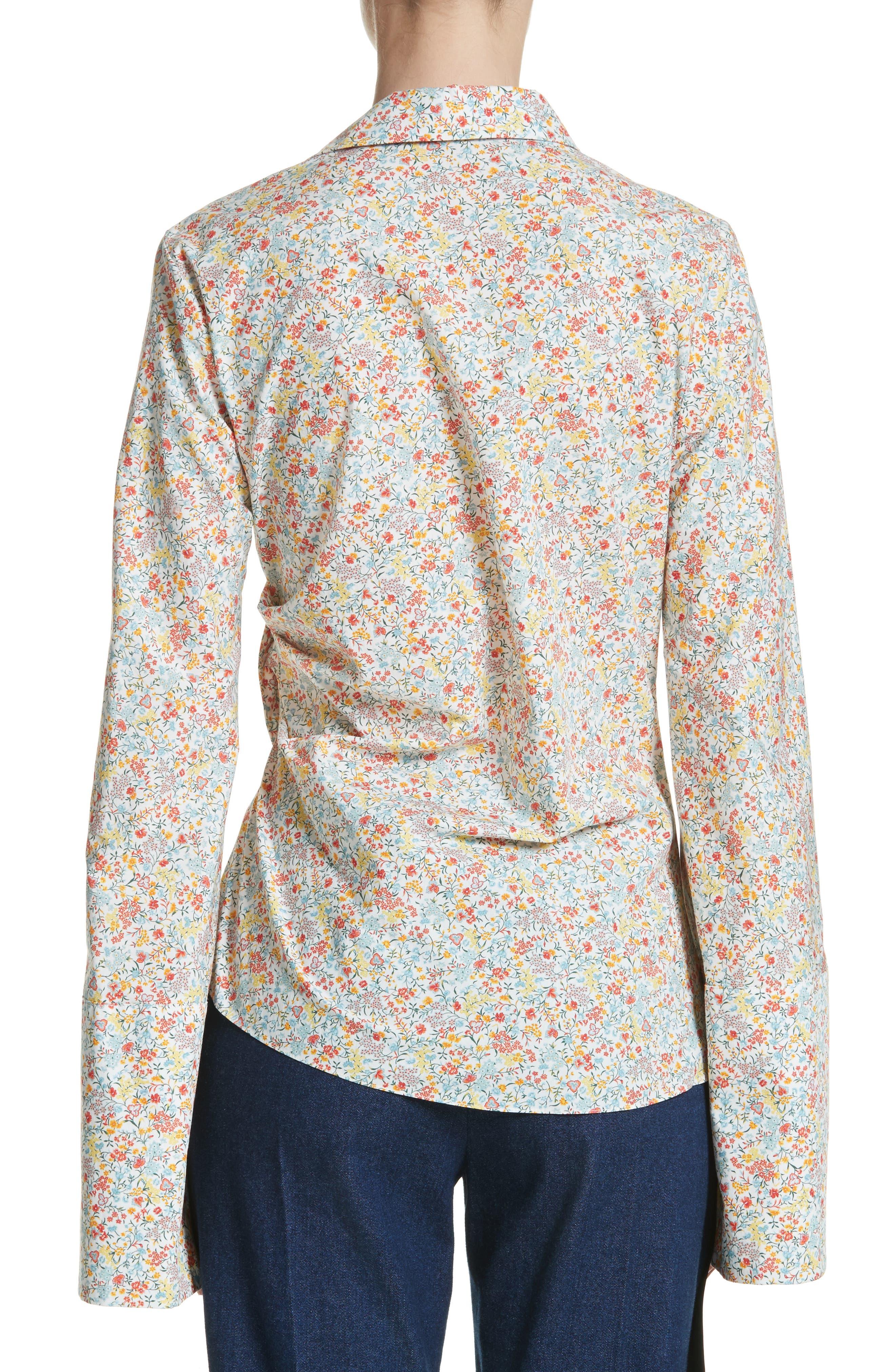 Wyatt Asymmetrical Cotton Blouse,                             Alternate thumbnail 2, color,                             Multicolor