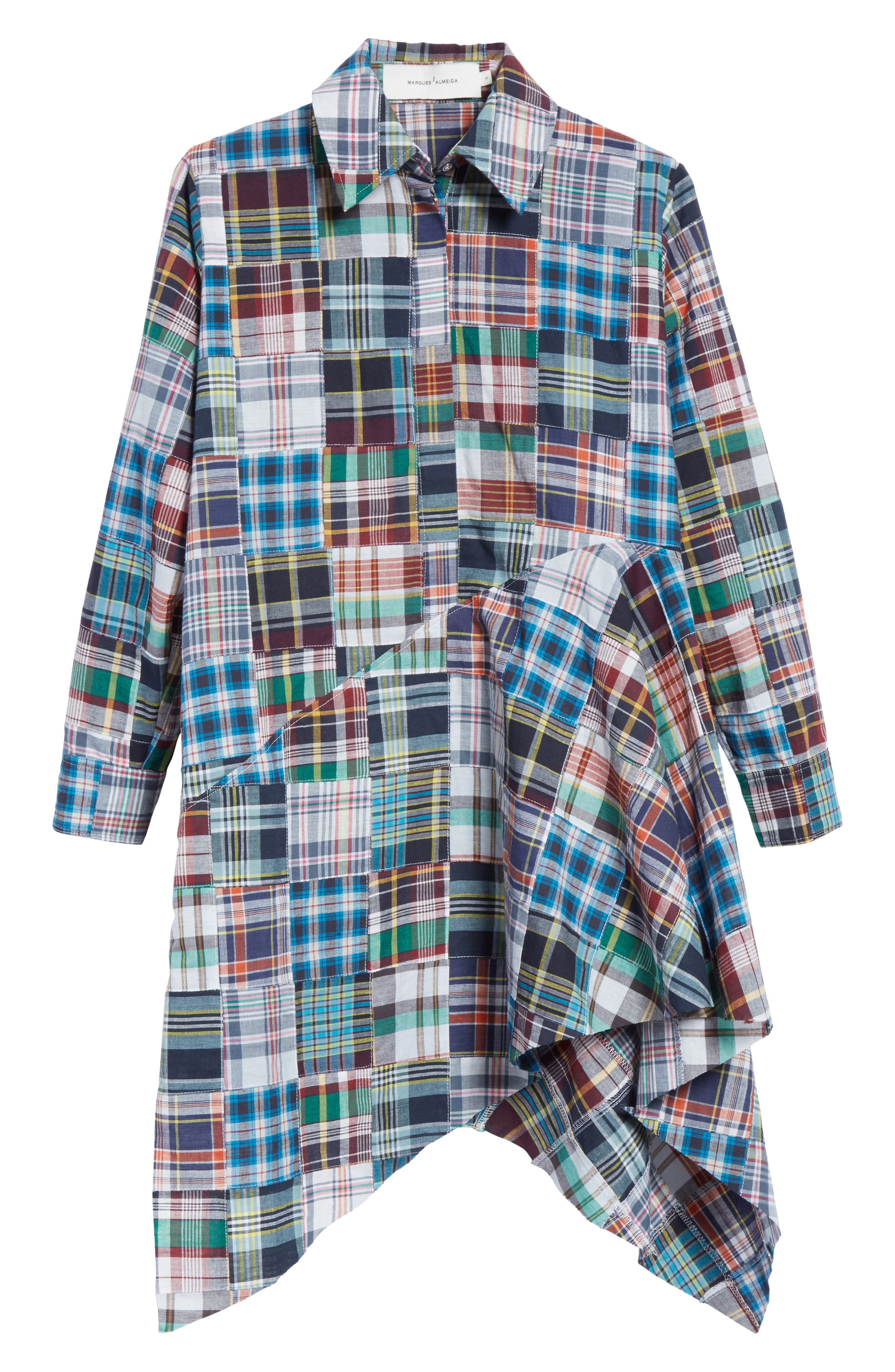 Marques'Almeida Asymmetric Patchwork Plaid Shirtdress,                             Alternate thumbnail 7, color,                             Navy/Multi