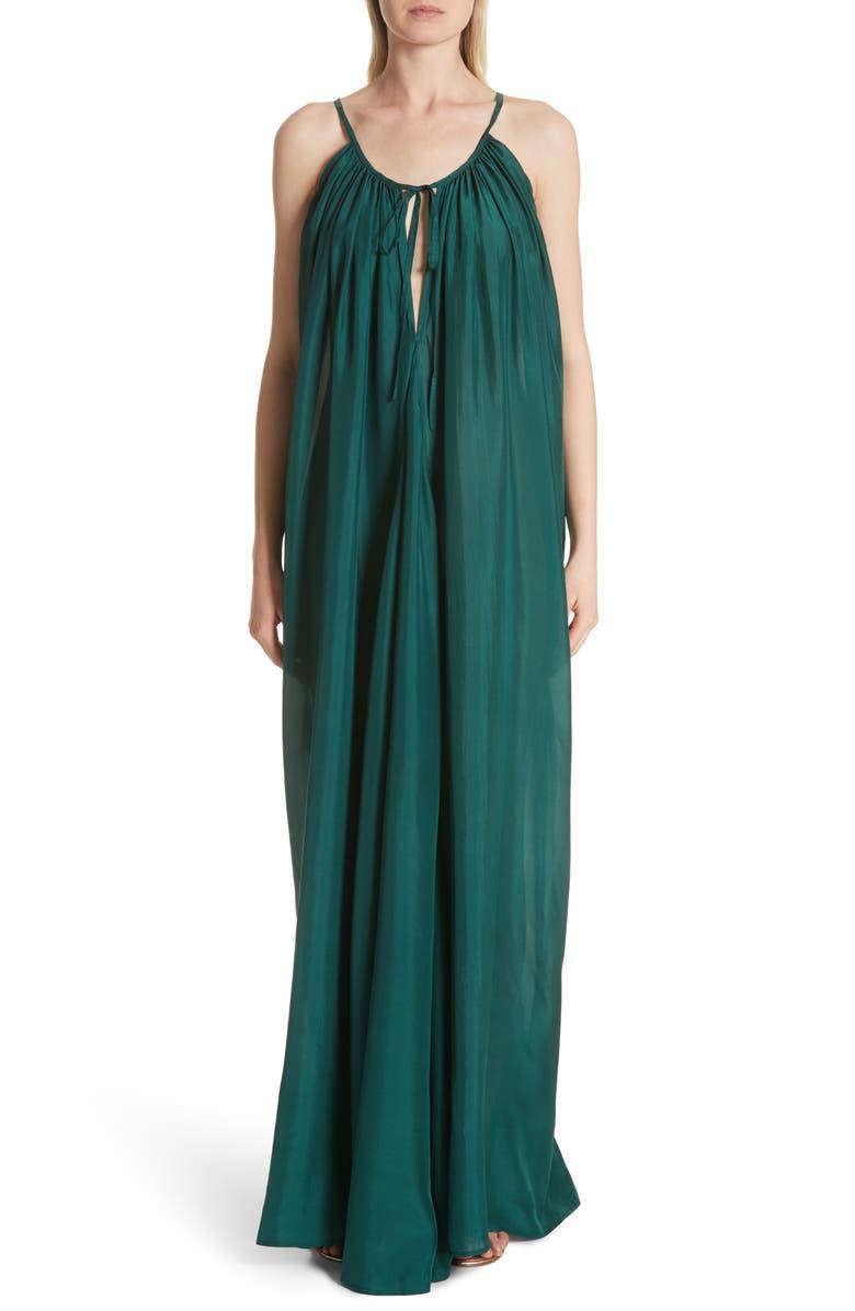 Mercury Silk Habotai Trapeze Maxi Dress