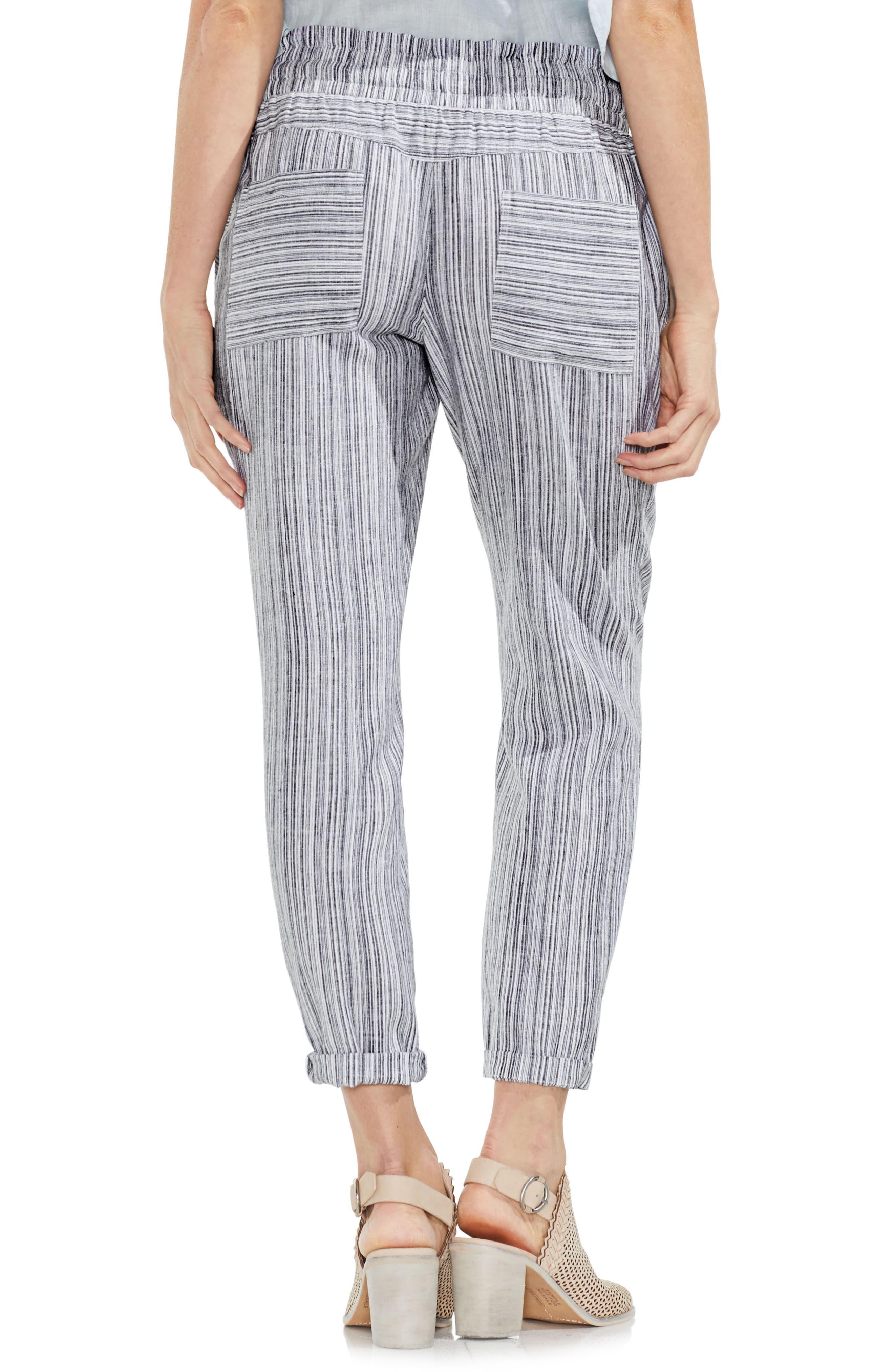 Slim Drawstring Stripe Pants,                             Alternate thumbnail 2, color,                             Rich Black