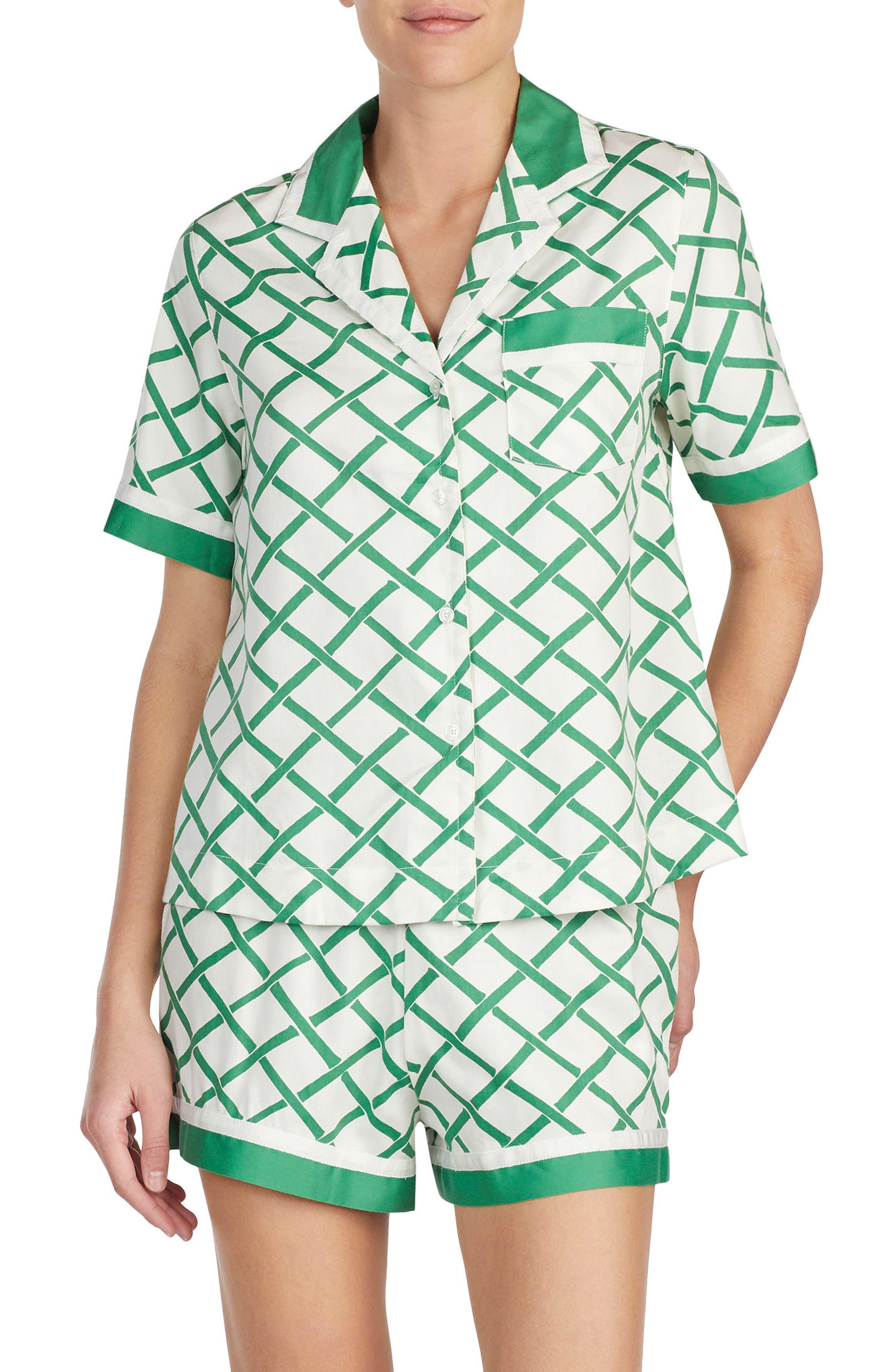 short sateen pajamas,                             Main thumbnail 1, color,                             Bamboo Lattice