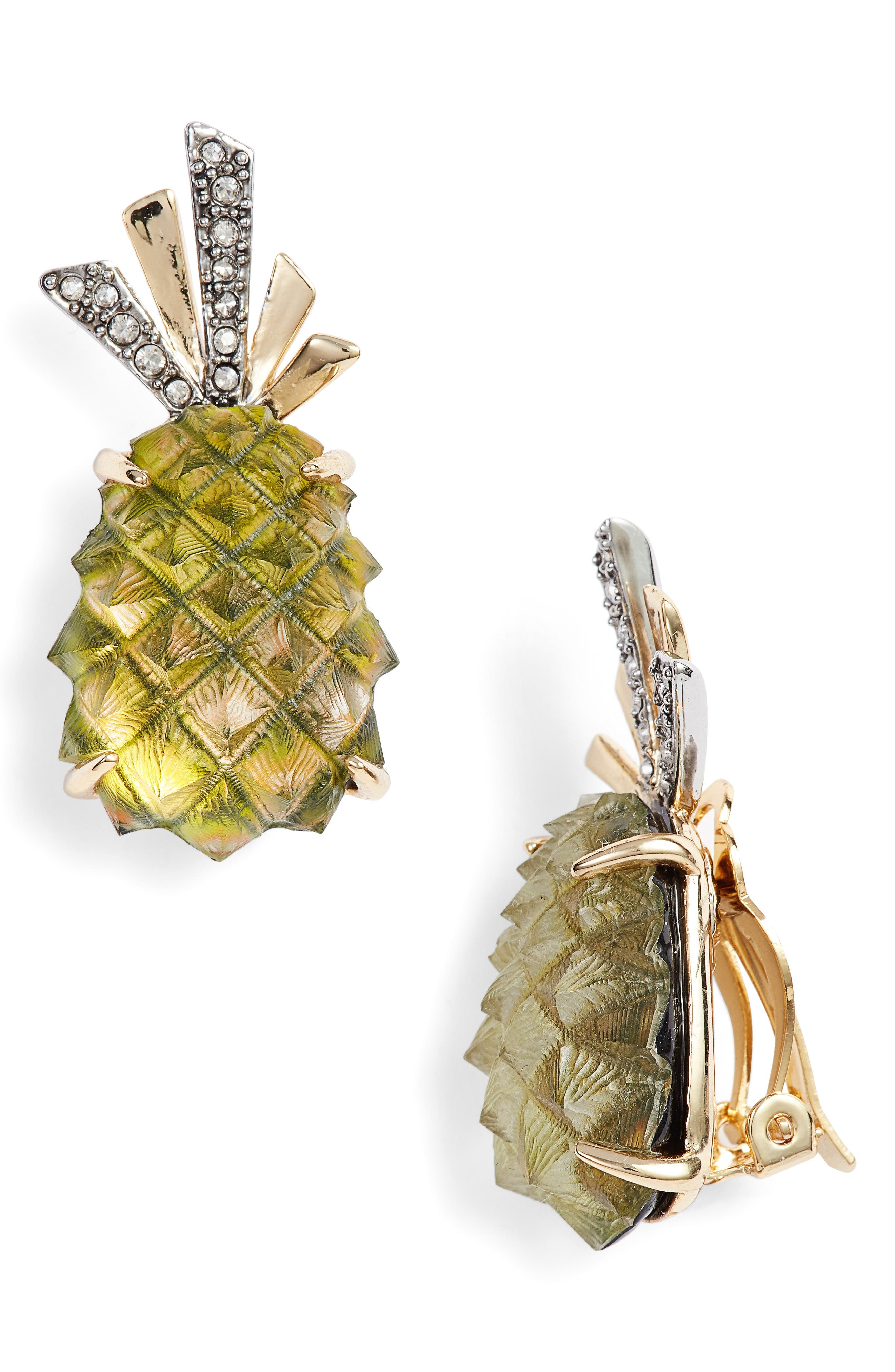 Lucite<sup>®</sup> Pineapple Earrings,                             Main thumbnail 1, color,                             Pineapple