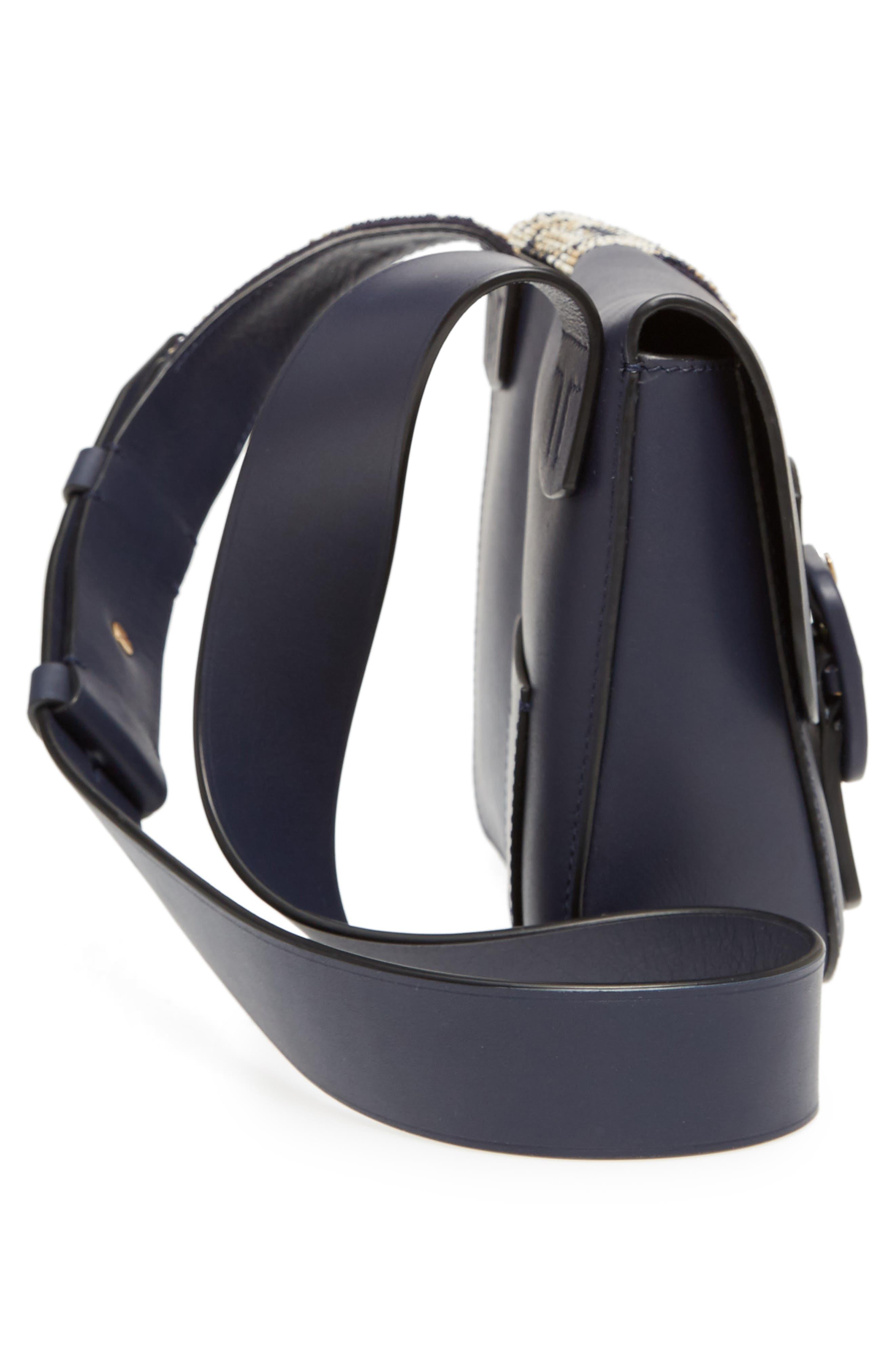Sawyer Embellished Double Pocket Leather Shoulder Bag,                             Alternate thumbnail 5, color,                             Navy