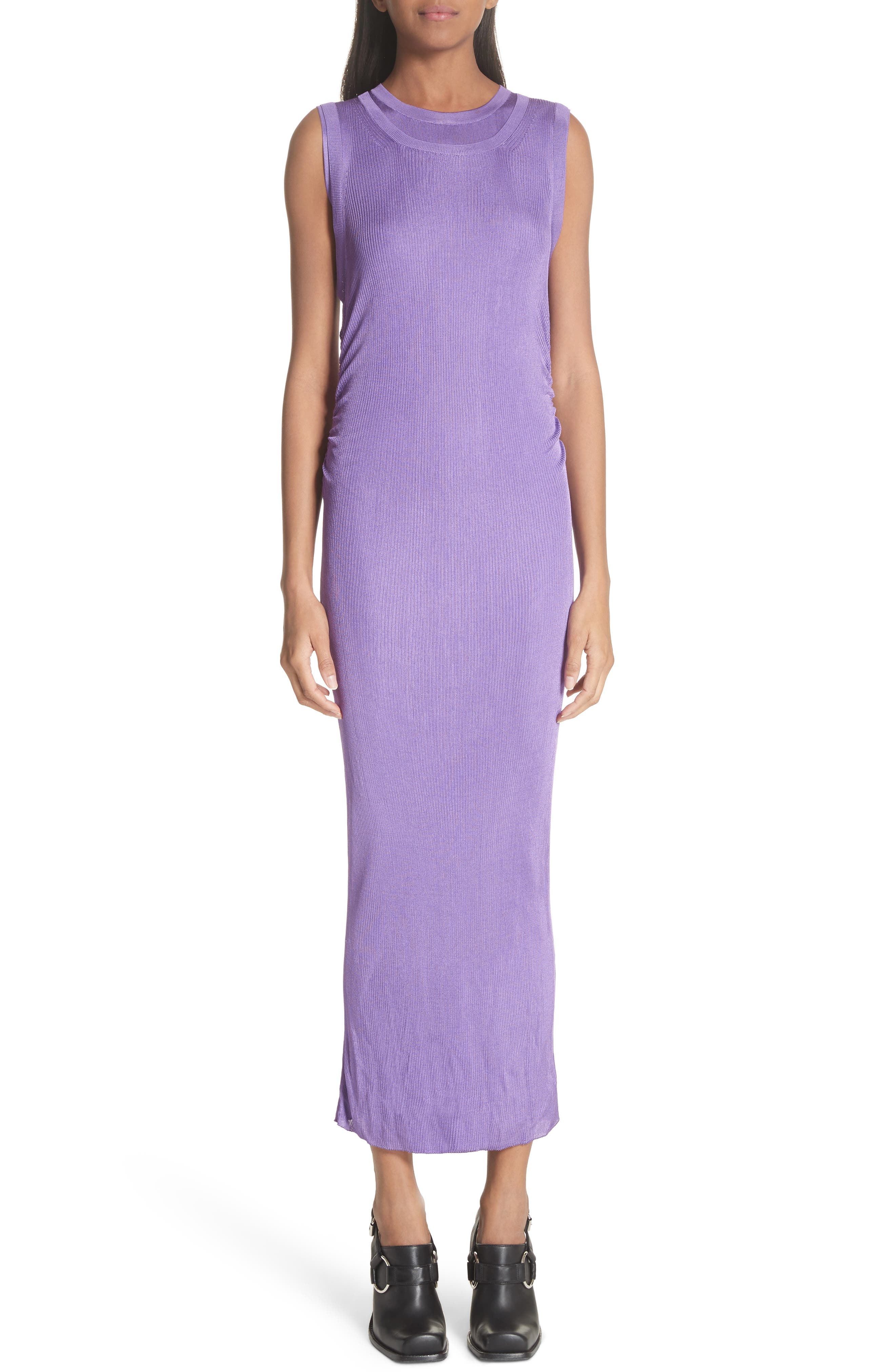 Ruched Side Layered Rib Knit Dress,                         Main,                         color, Lilas
