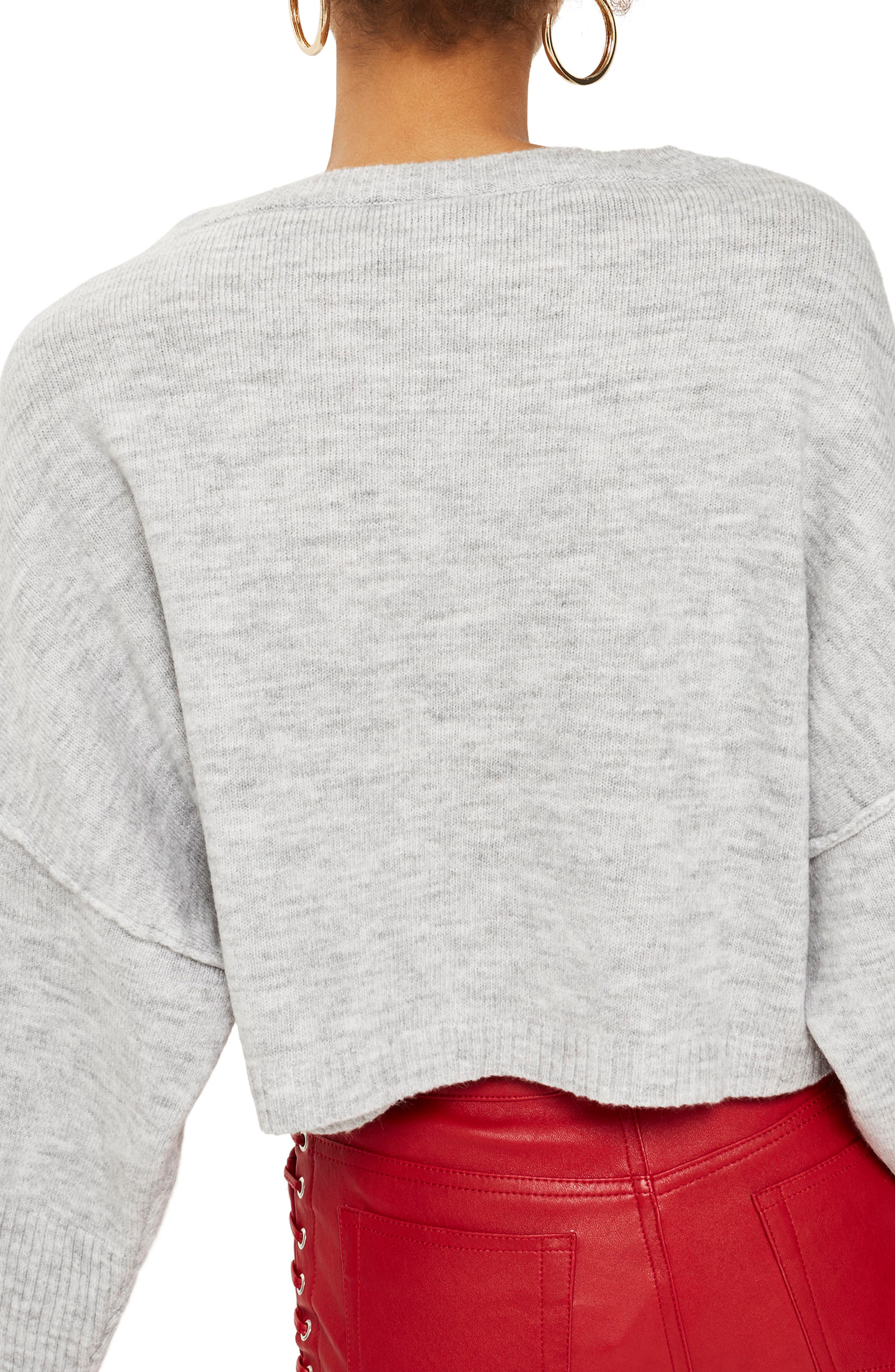 Alternate Image 2  - Topshop Wide Sleeve Crop Sweater