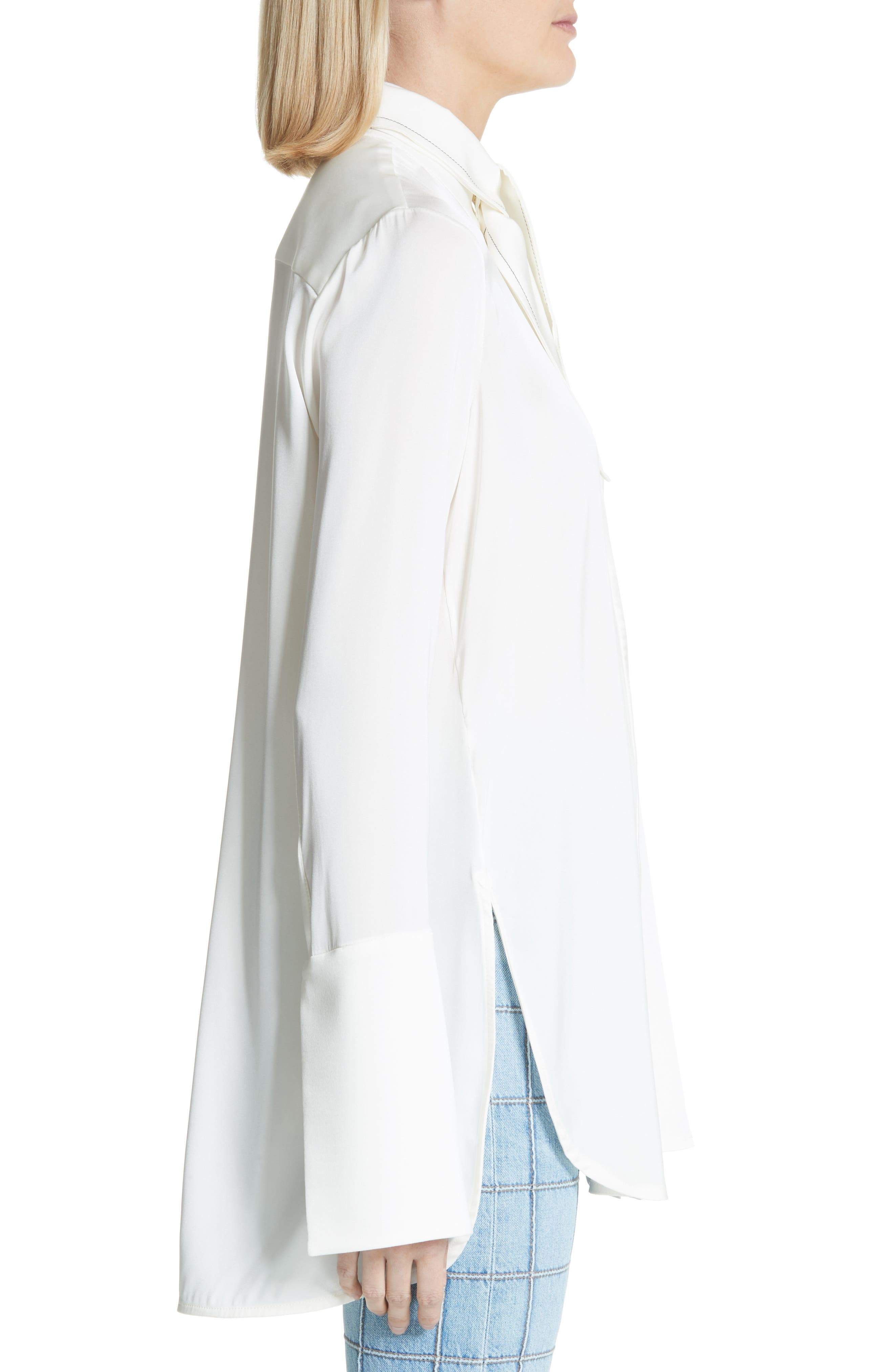 Ride Lonesome Tie Neck Blouse,                             Alternate thumbnail 3, color,                             Ivory