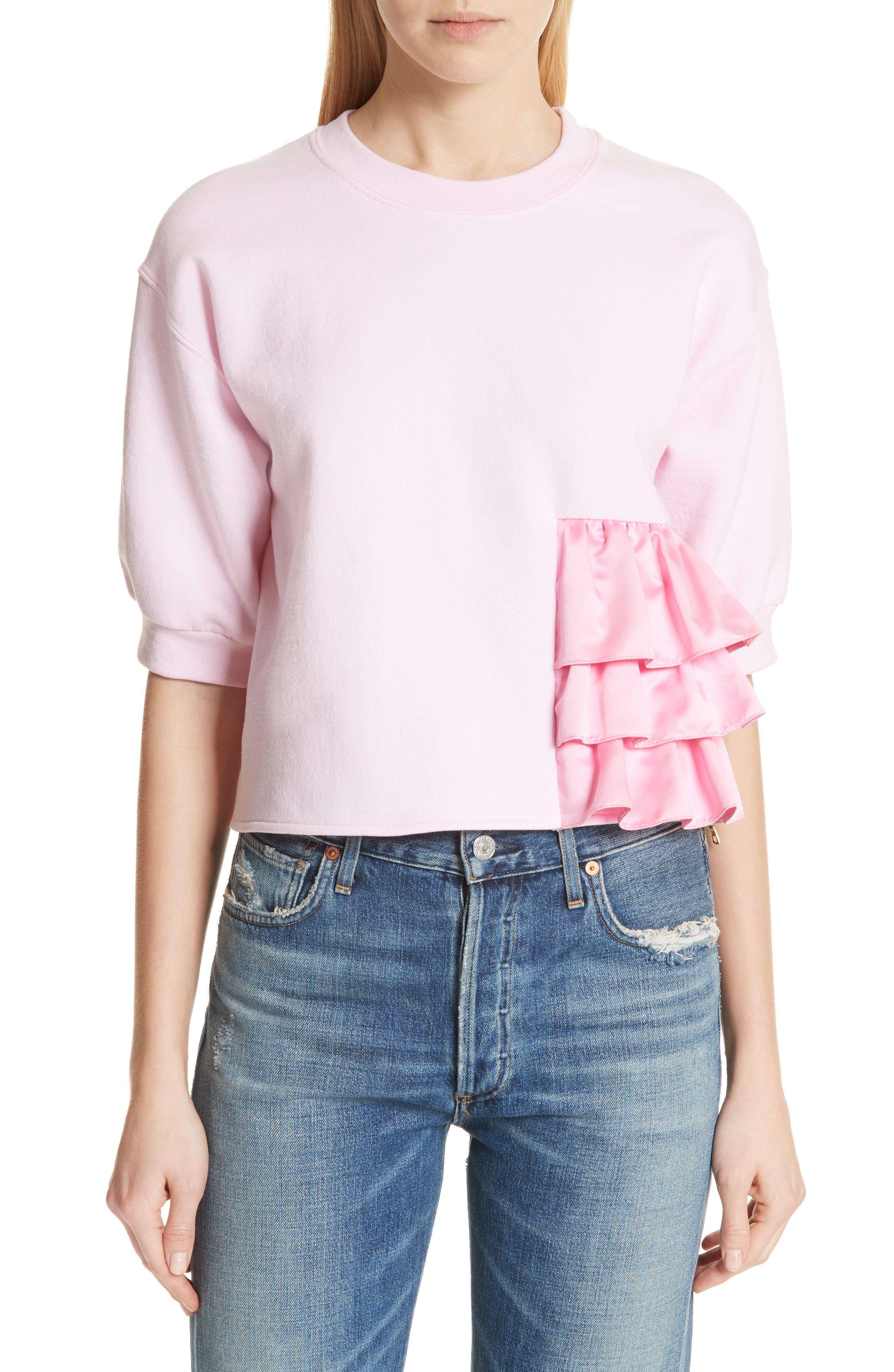 Ruffle Detail Crop Sweatshirt,                         Main,                         color, Pink
