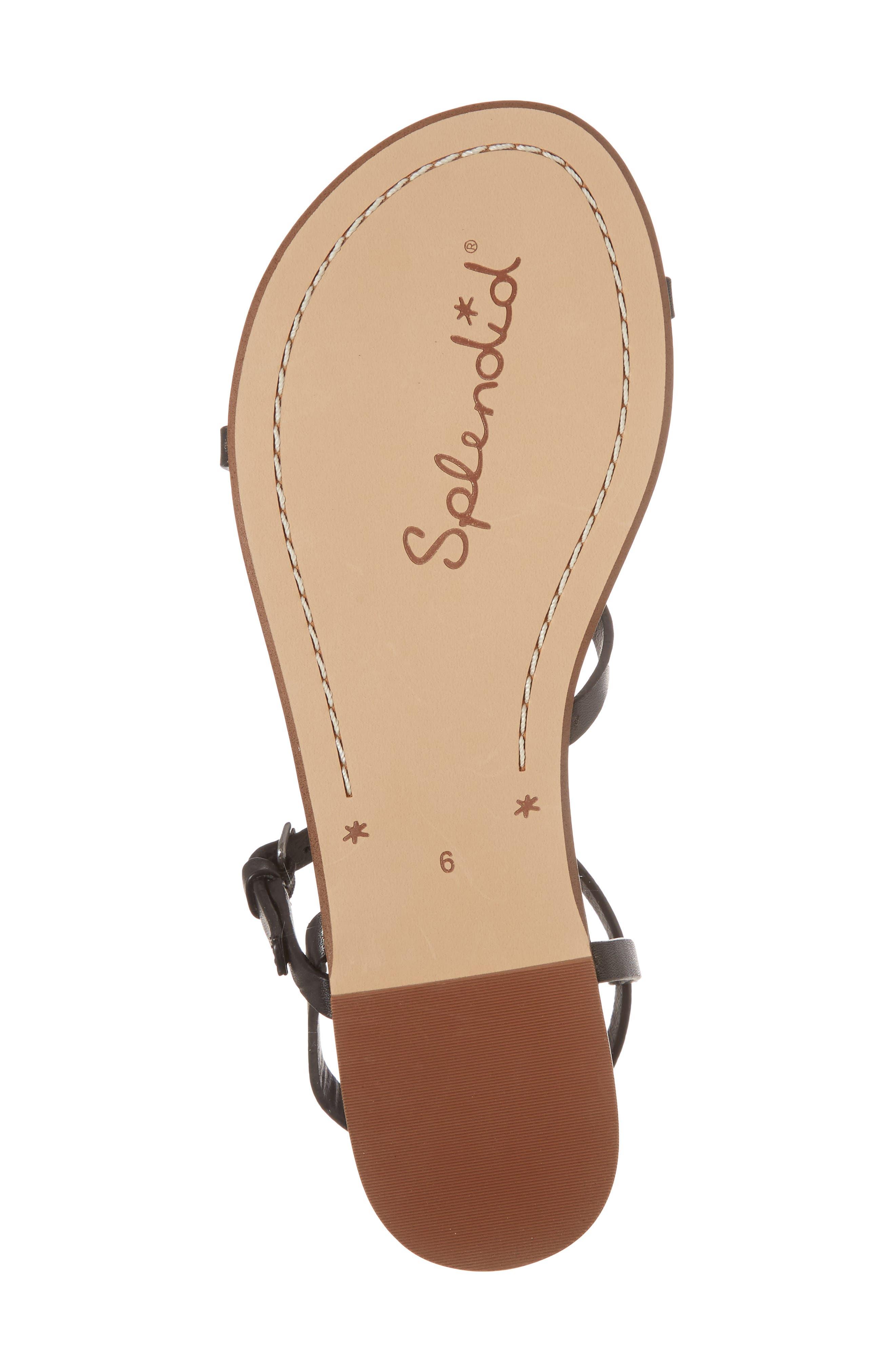 Flower Sandal,                             Alternate thumbnail 6, color,                             Black Leather