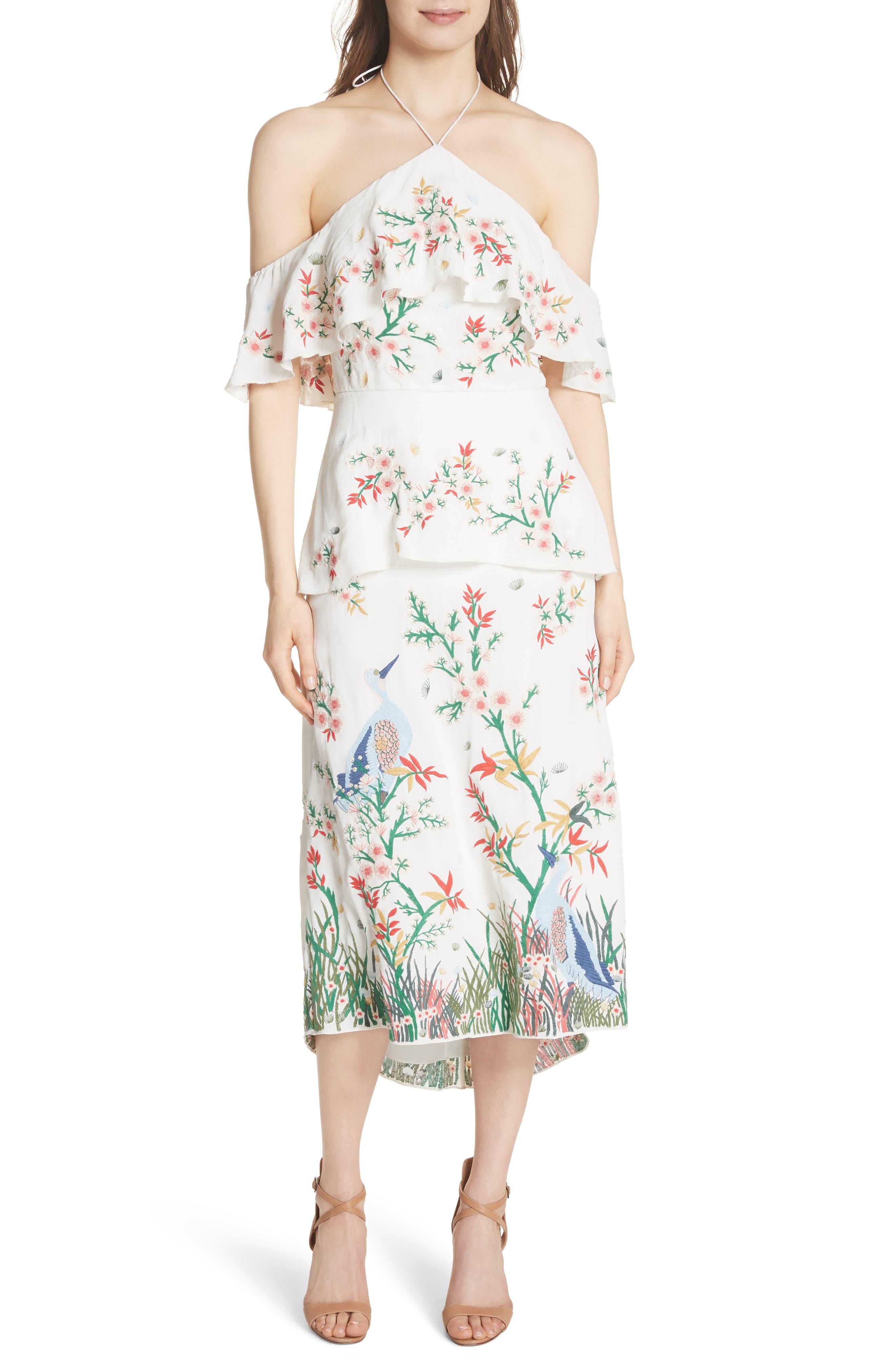 Golda Embroidered Midi Halter Dress,                             Main thumbnail 1, color,                             Cream/ Multi