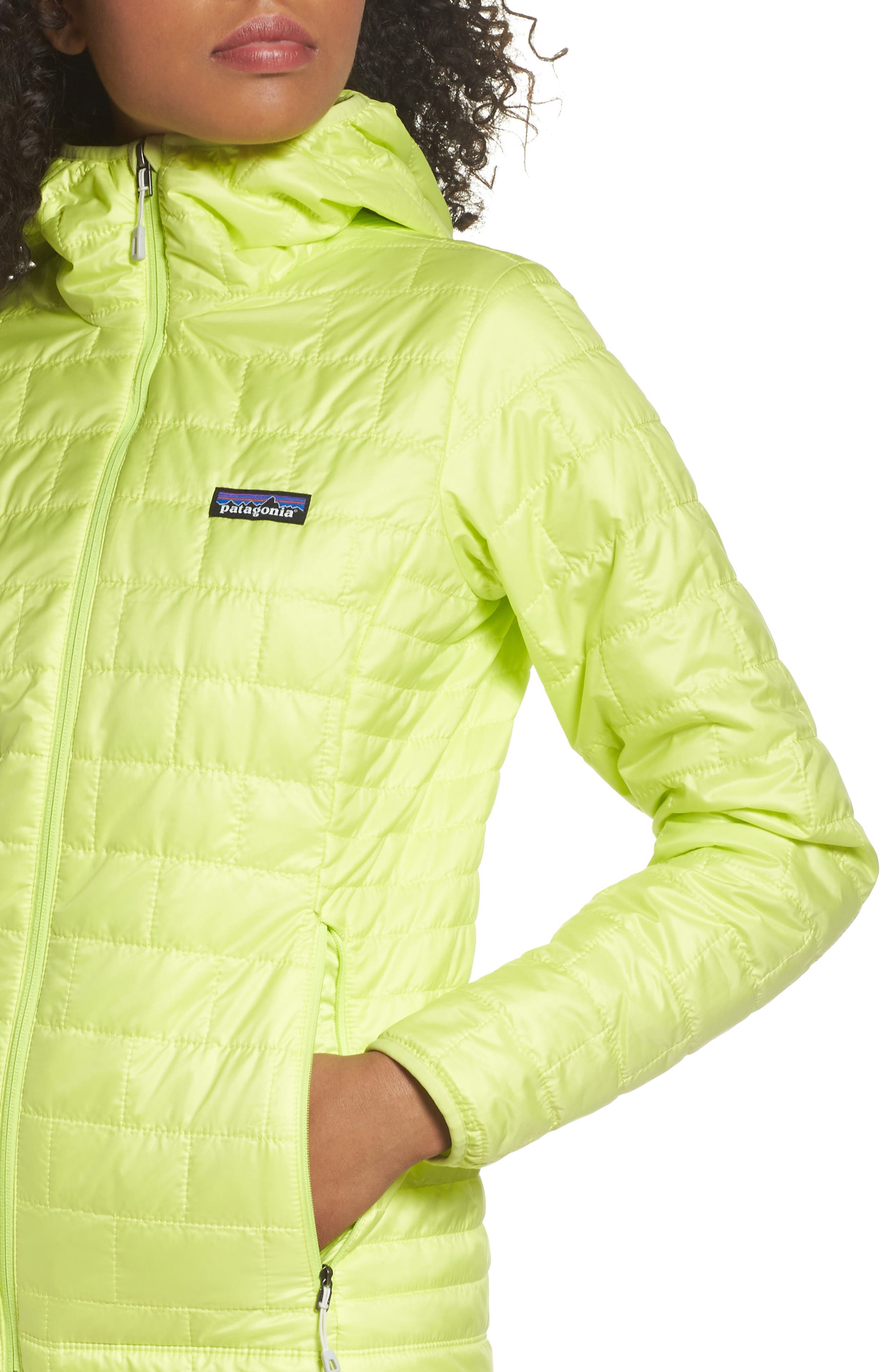 Nano Puff<sup>®</sup> Hooded Water Resistant Jacket,                             Alternate thumbnail 4, color,                             Celery Green