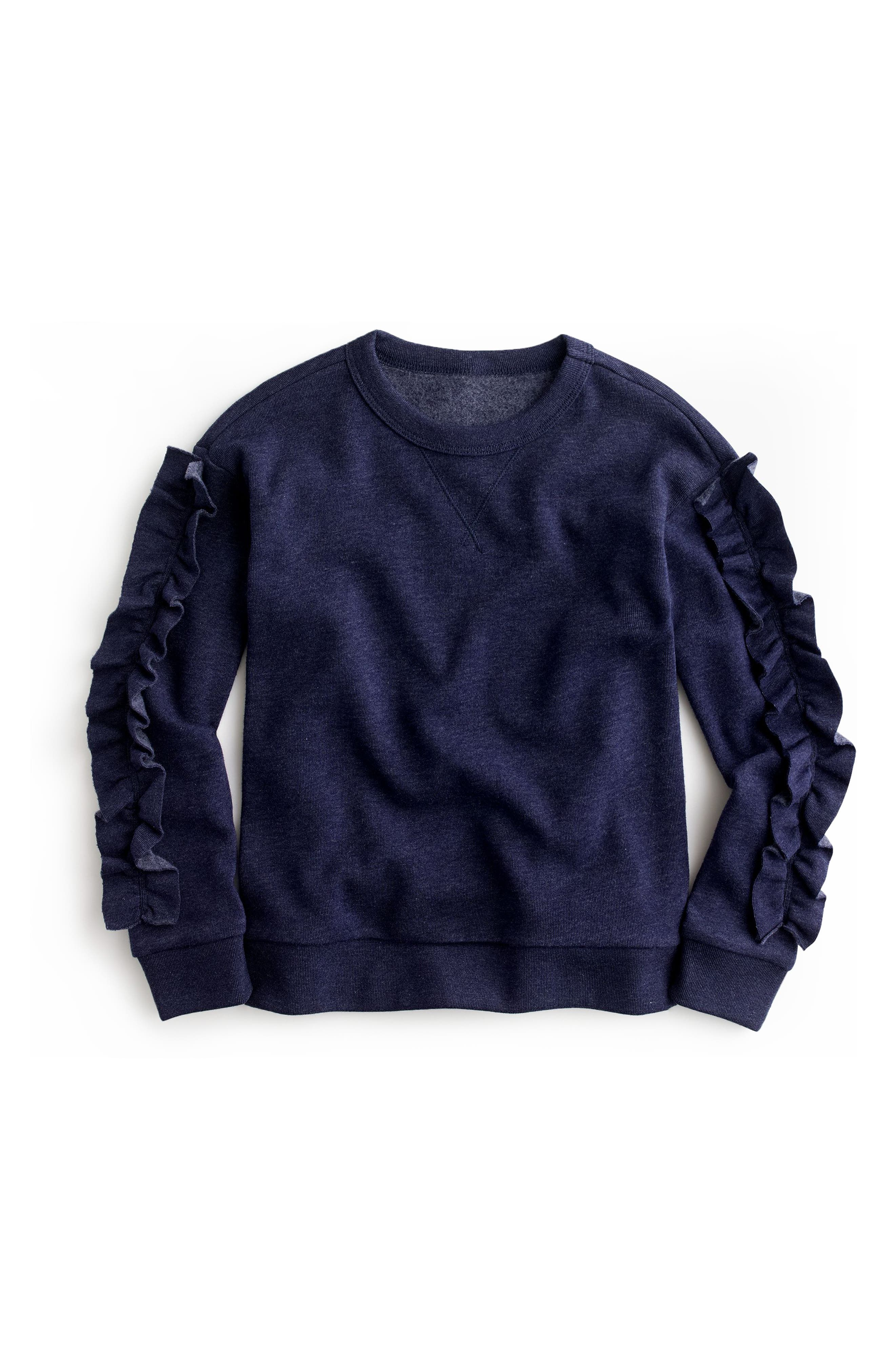 Ruffle Trim Sweatshirt,                             Main thumbnail 1, color,                             Dark Ink