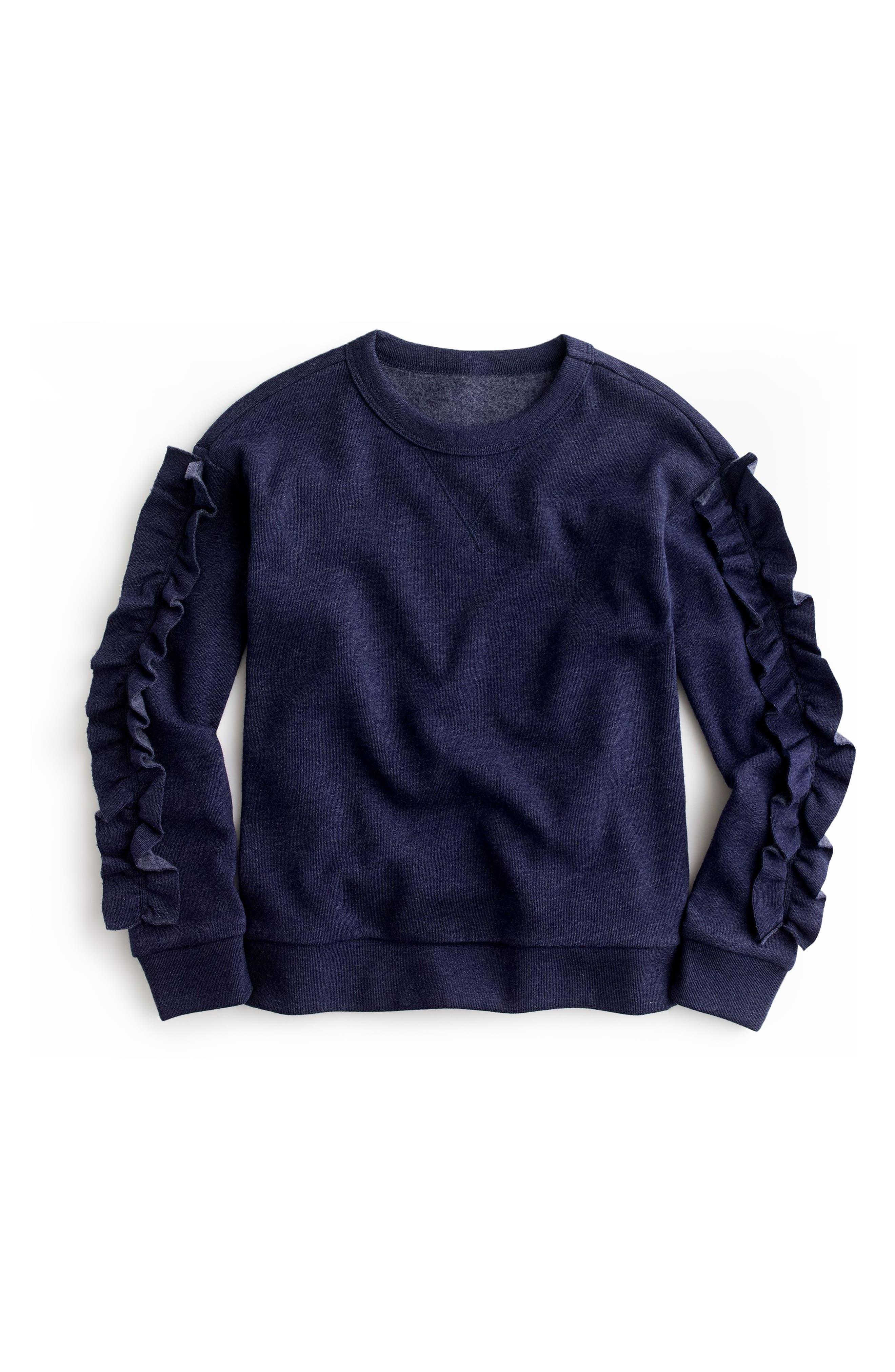 crewcuts by J.Crew Ruffle Trim Sweatshirt (Toddler Girls, Little Girls & Big Girls)
