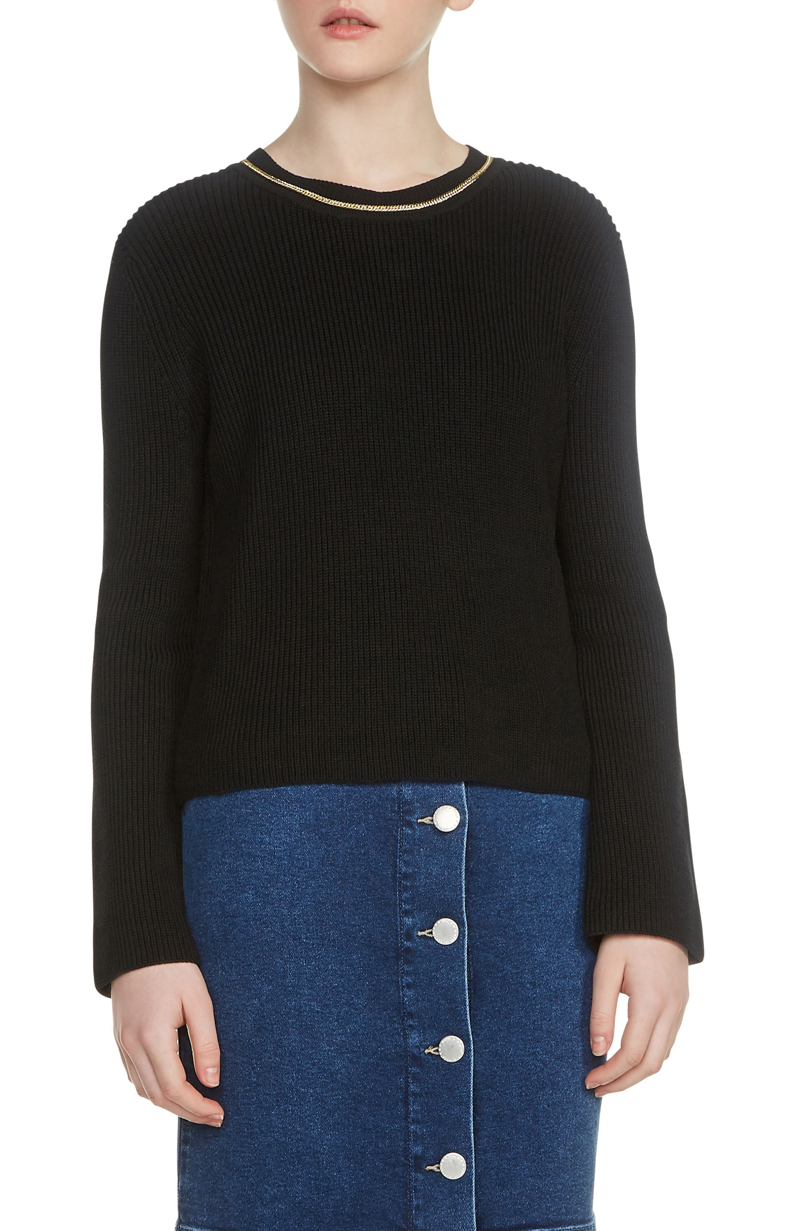 Main Image - maje Melting Necklace Collar Ribbed Sweater