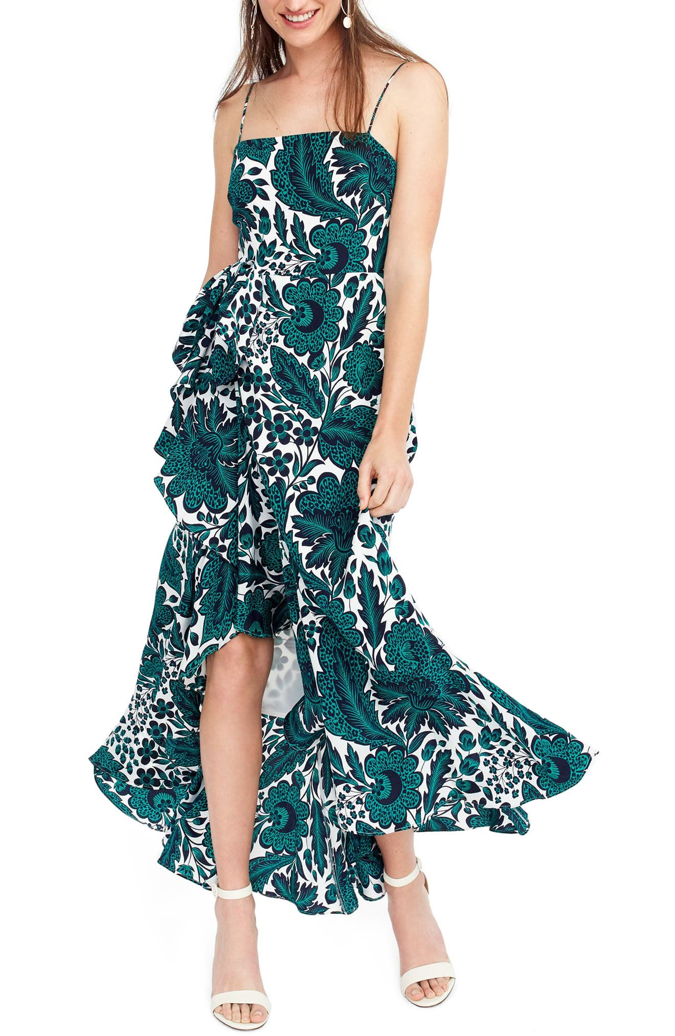 J.Crew Ruffle High/Low Silk Dress,                             Main thumbnail 1, color,                             Navy Green