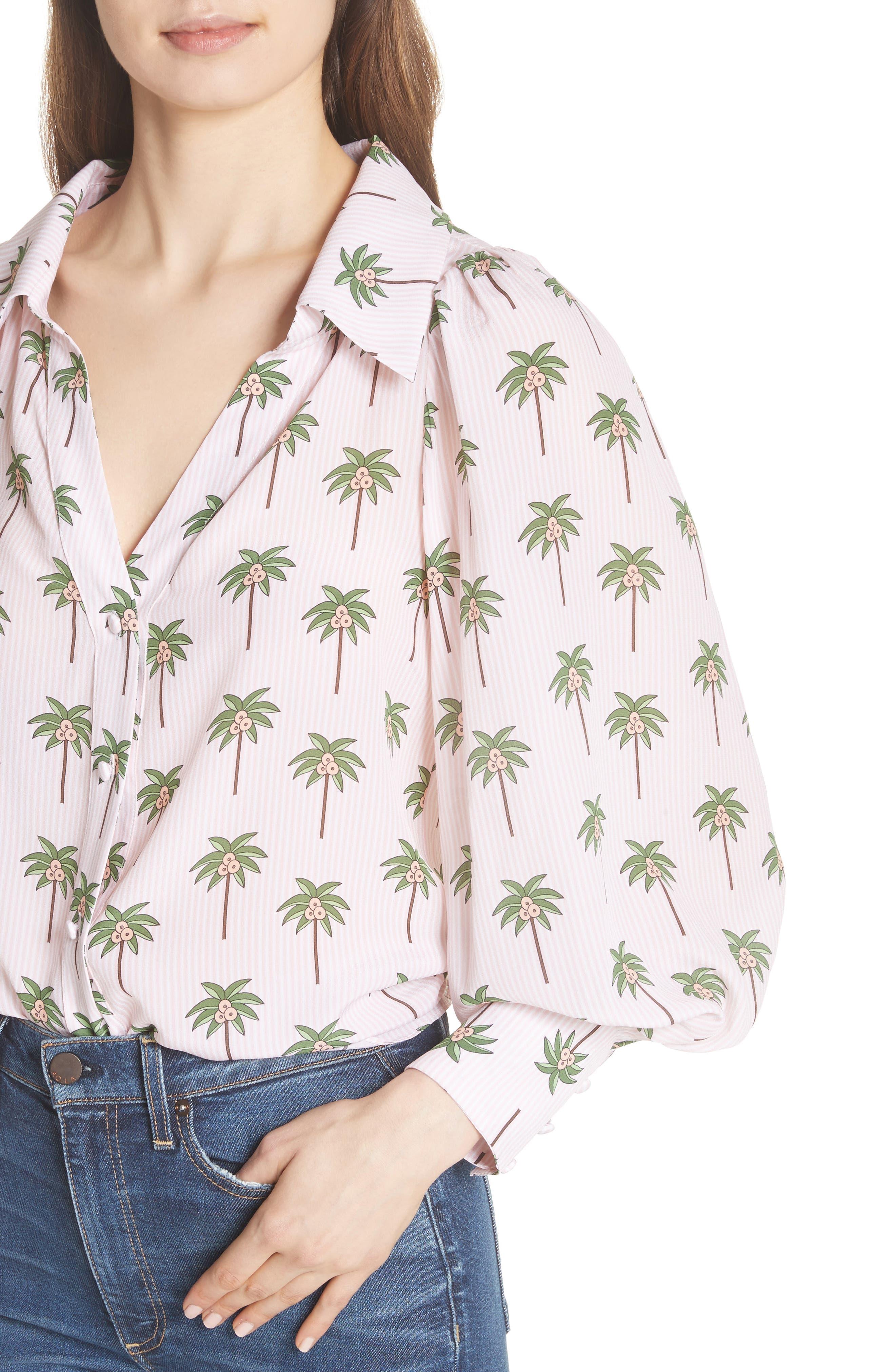 Salome Palm Print Silk Blouse,                             Alternate thumbnail 4, color,                             Mini Palm