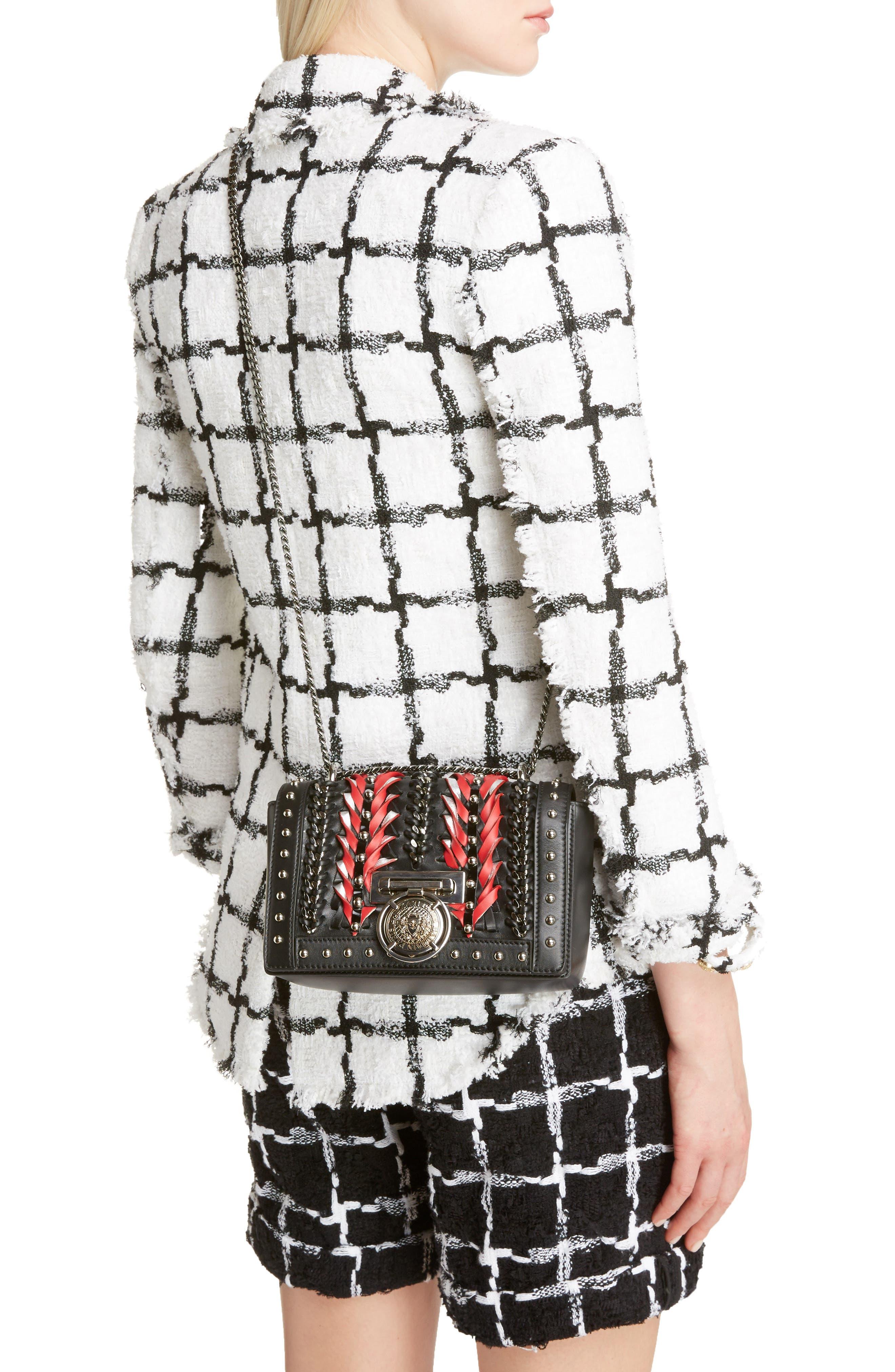 Baby Box Woven Leather Shoulder Bag,                             Alternate thumbnail 2, color,                             Noir/ Rouge/ Blanc