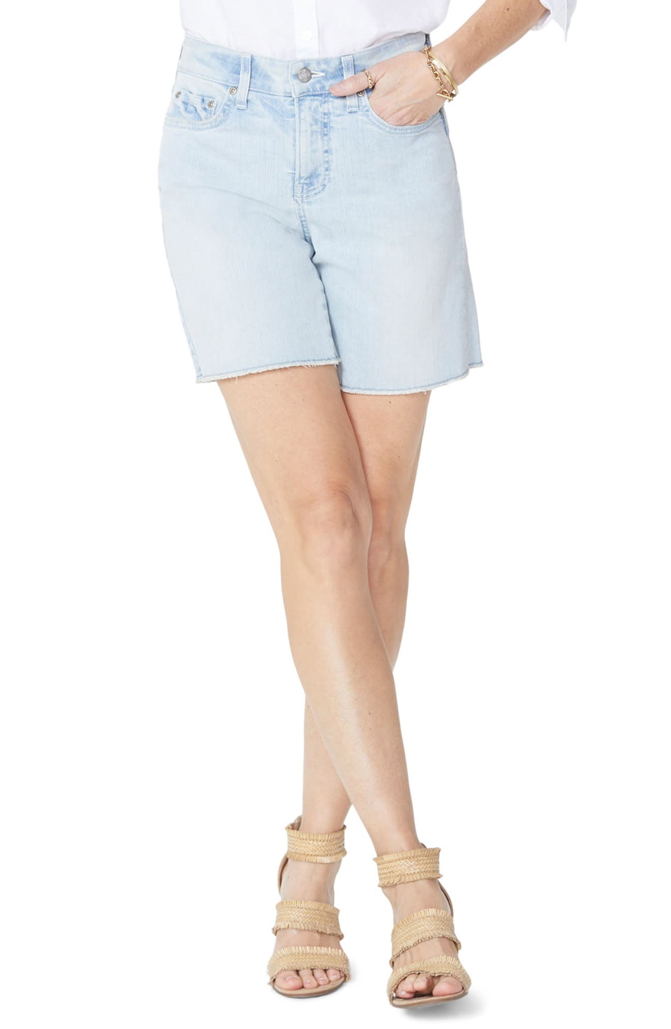 Jenna Frayed Denim Shorts,                             Main thumbnail 1, color,                             Palm Desert