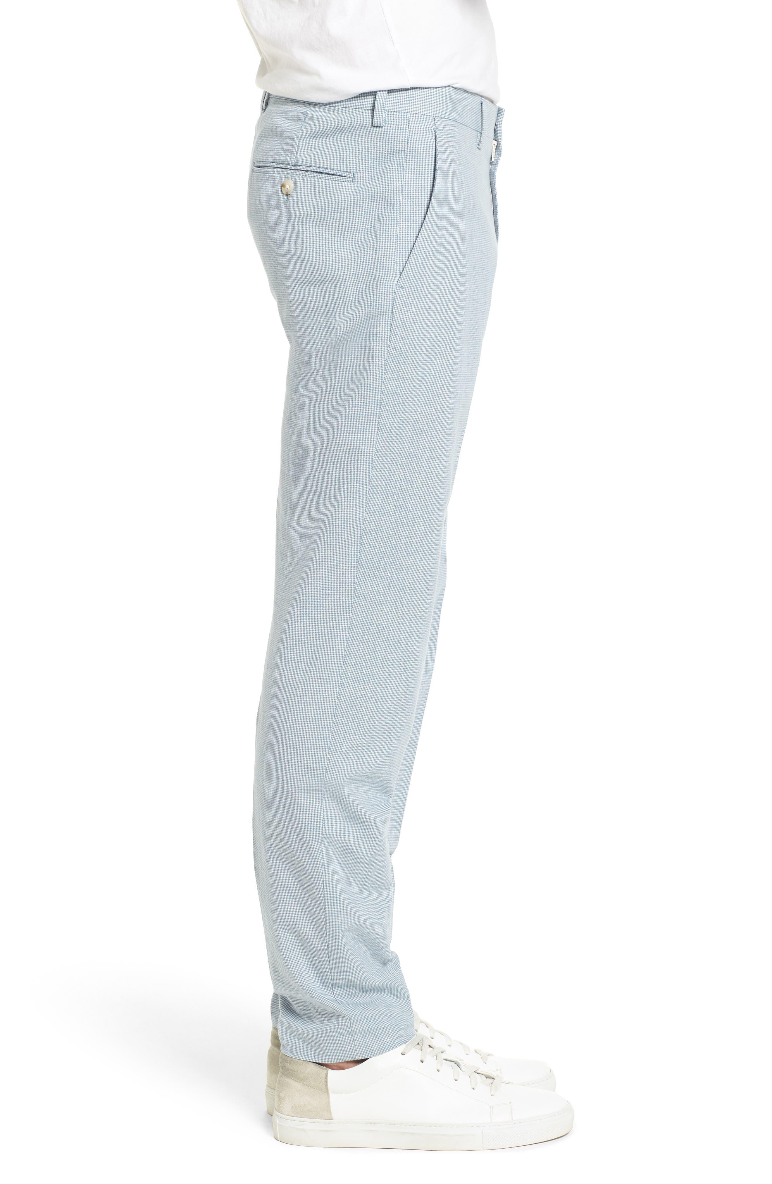 Ludlow Trim Fit Houndstooth Cotton & Linen Suit Pants,                             Alternate thumbnail 3, color,                             Light Blue