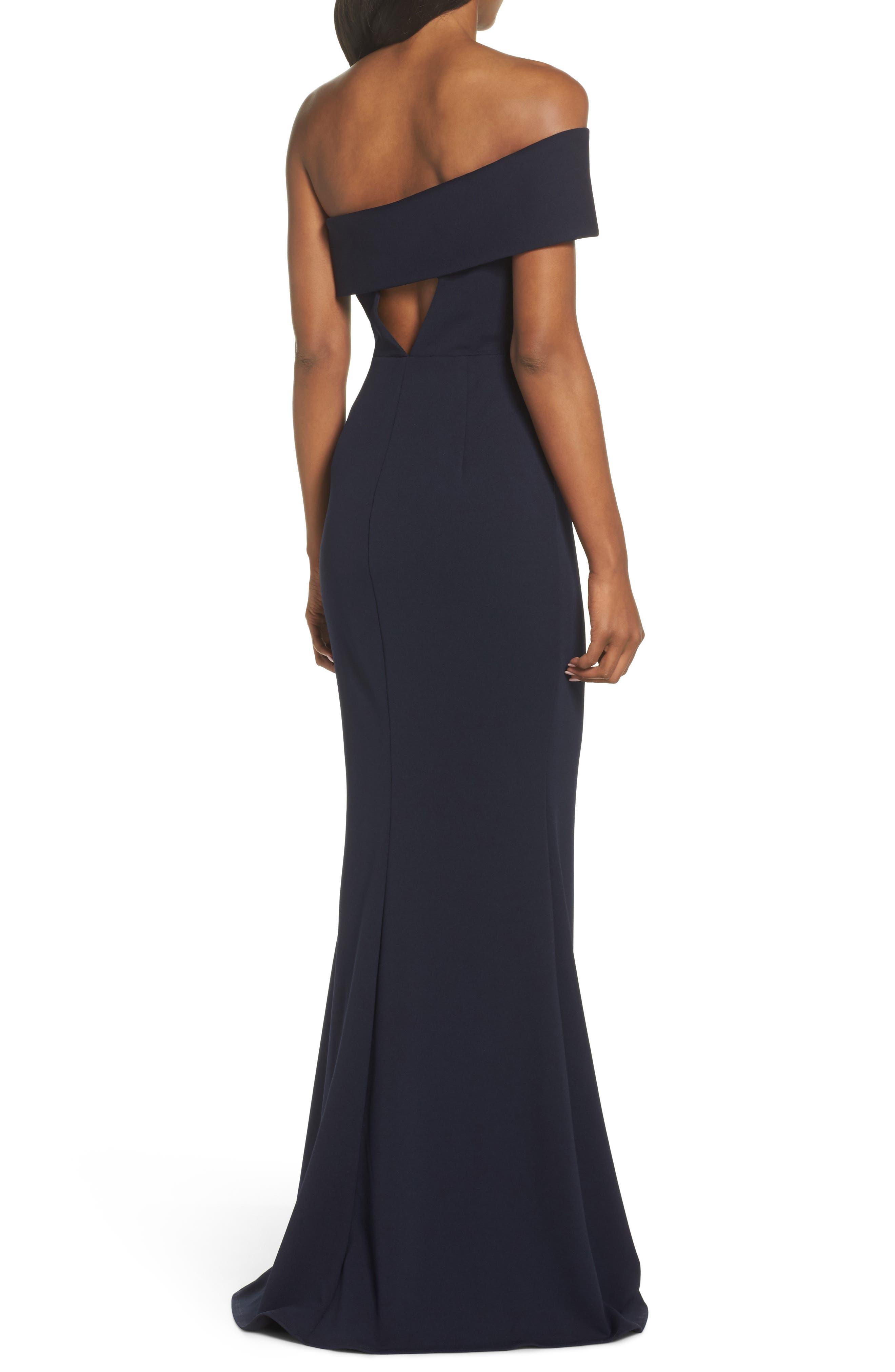 Titan One-Shoulder Cutout Crepe Gown,                             Alternate thumbnail 2, color,                             Navy