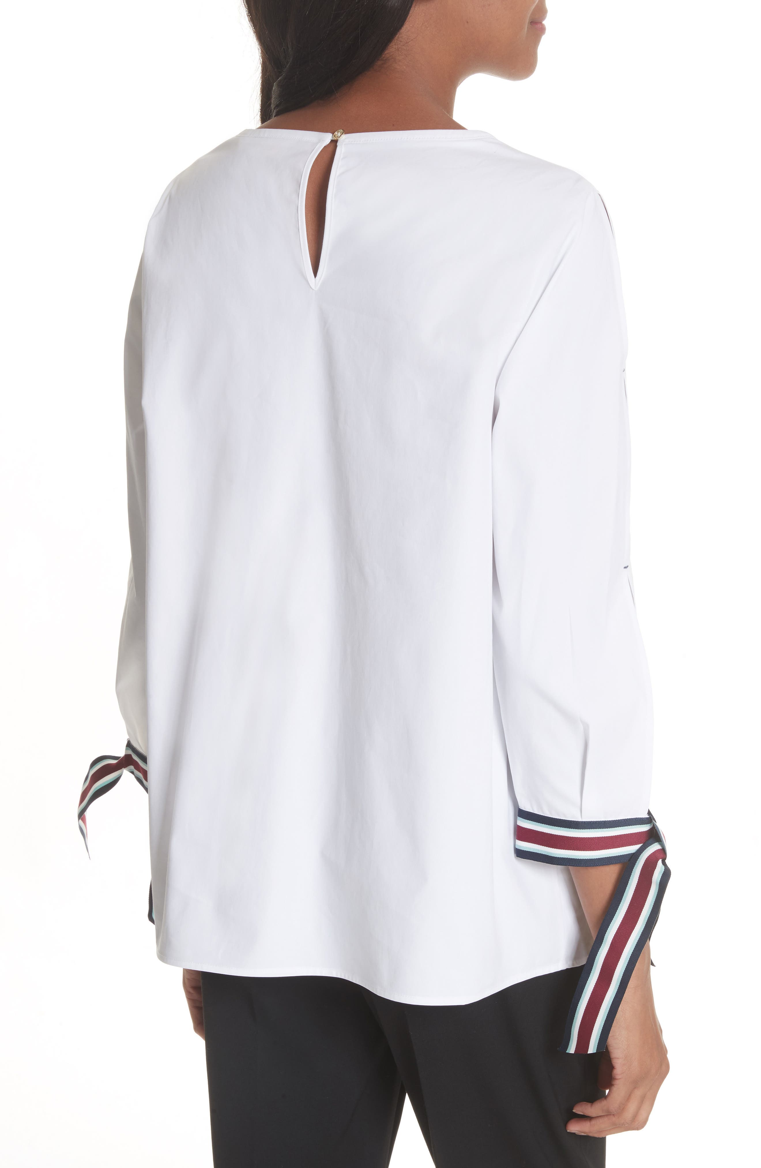 Tie Sleeve Cotton Top,                             Alternate thumbnail 2, color,                             White