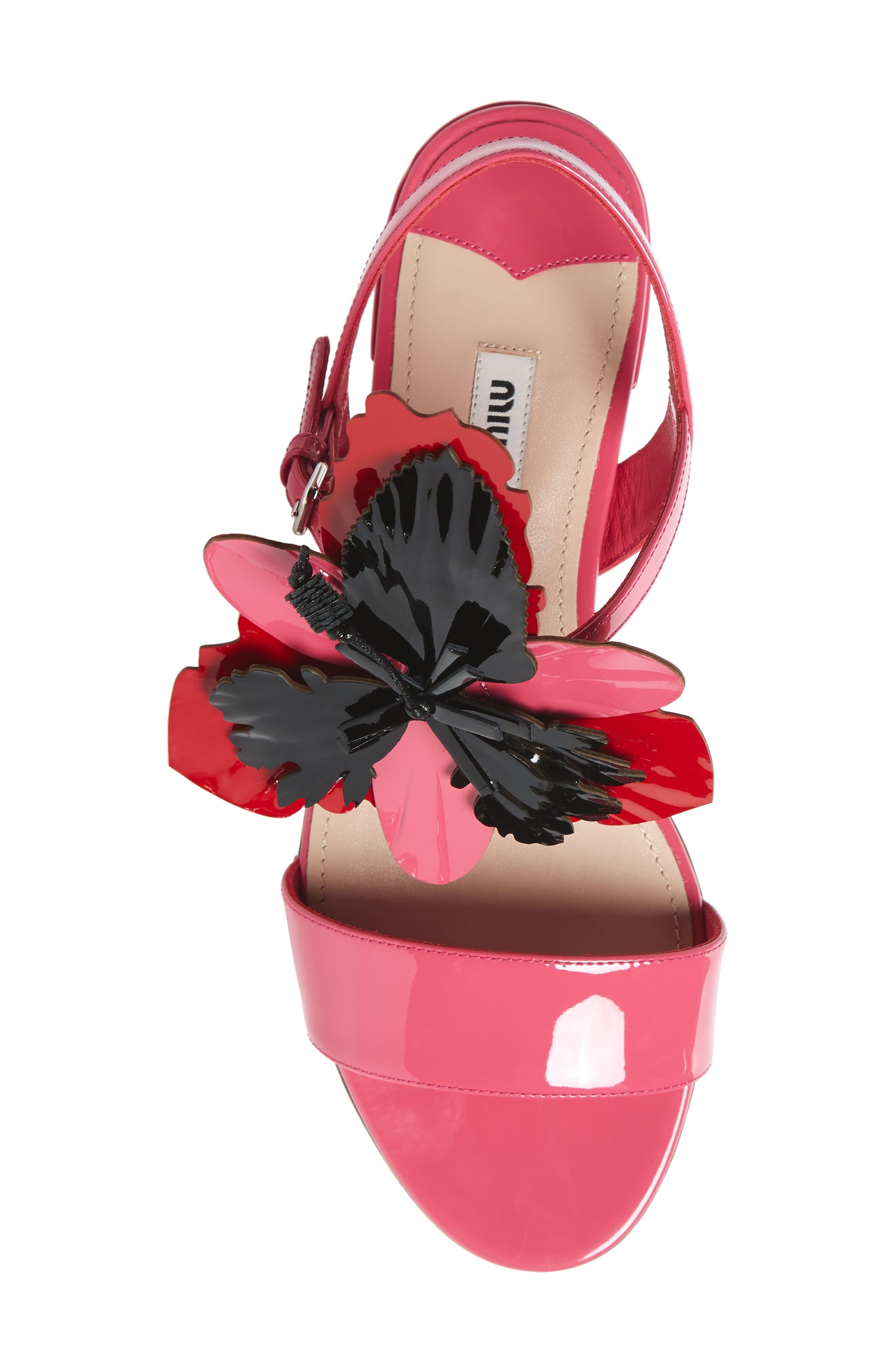 Floral Embellished Strappy Sandal,                             Alternate thumbnail 5, color,                             Pink