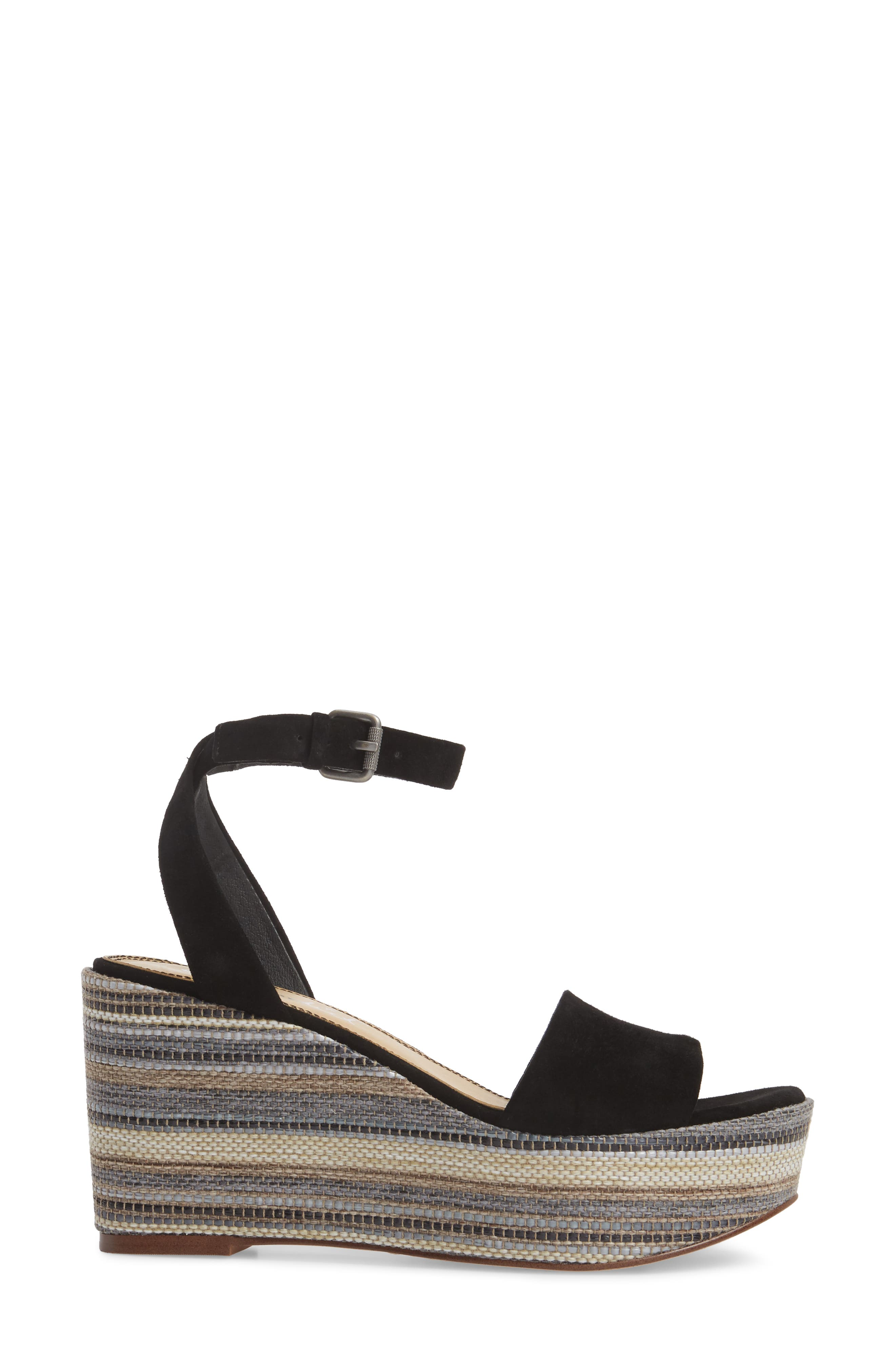 Felix Platform Wedge Sandal,                             Alternate thumbnail 3, color,                             Black Multi Suede