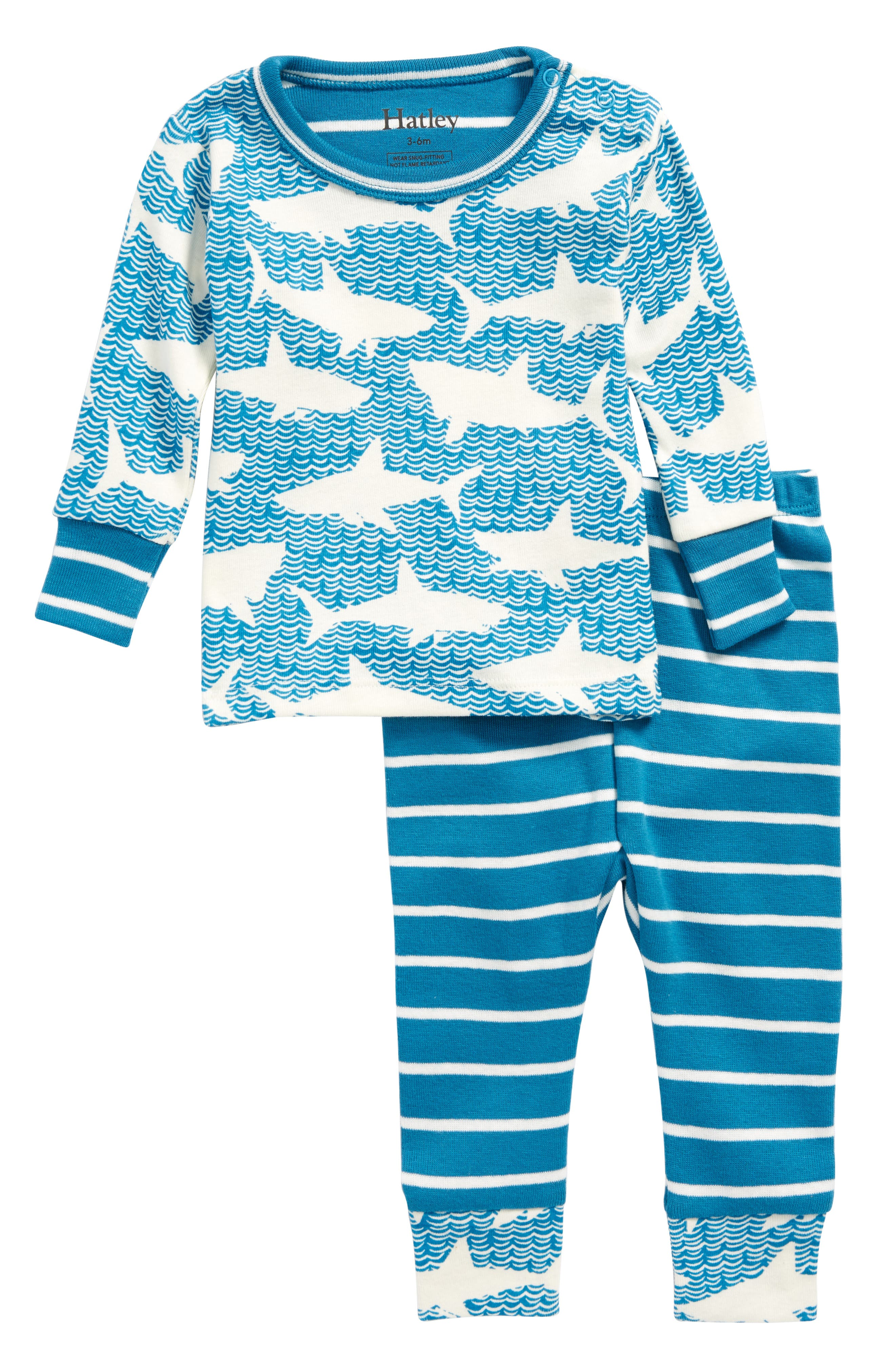Shark Alley Organic Cotton Fitted Two-Piece Pajamas,                             Alternate thumbnail 2, color,                             Shark Alley