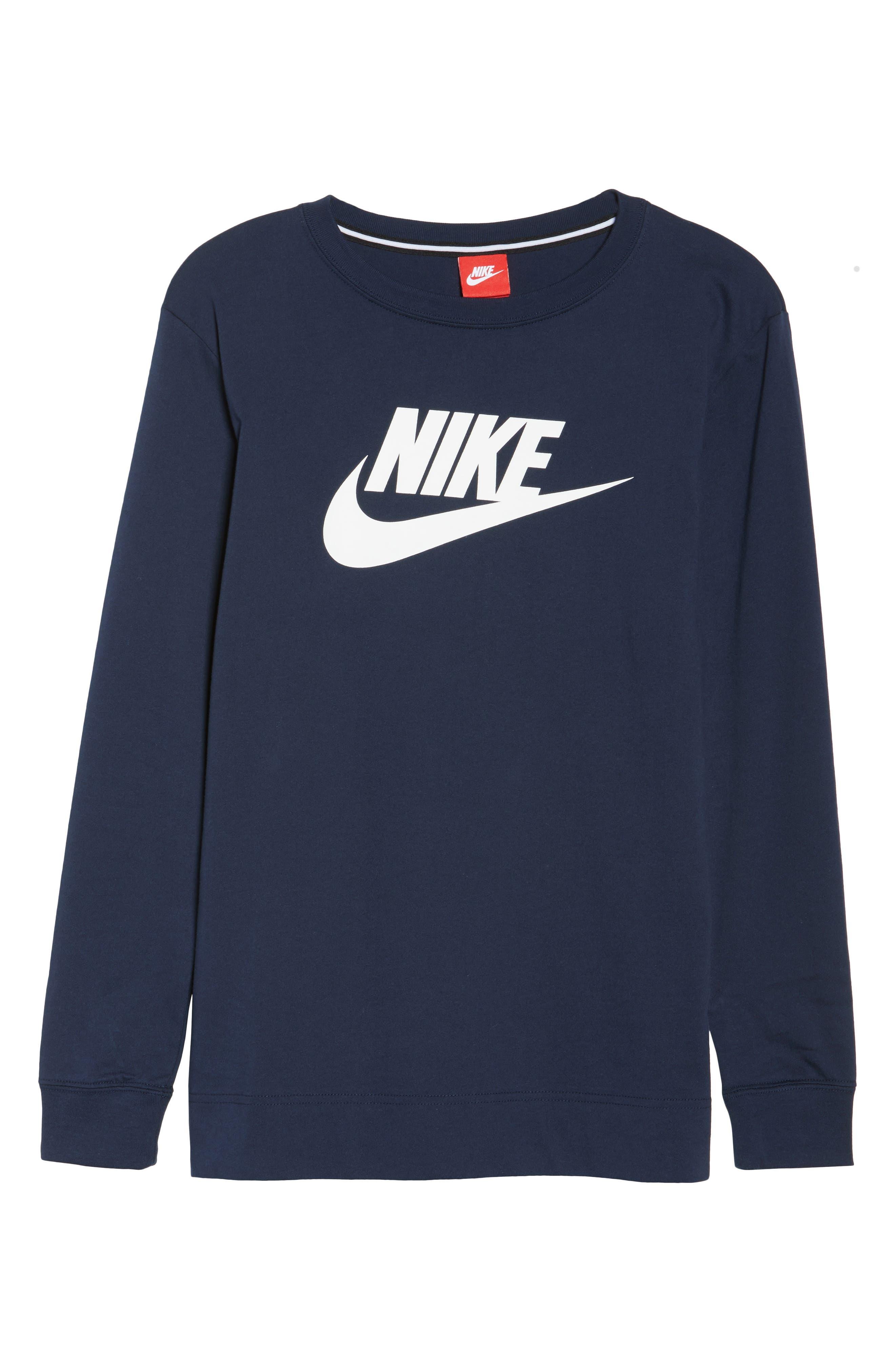 Sportswear Long Sleeve Tee,                         Main,                         color, Obsidian/ White