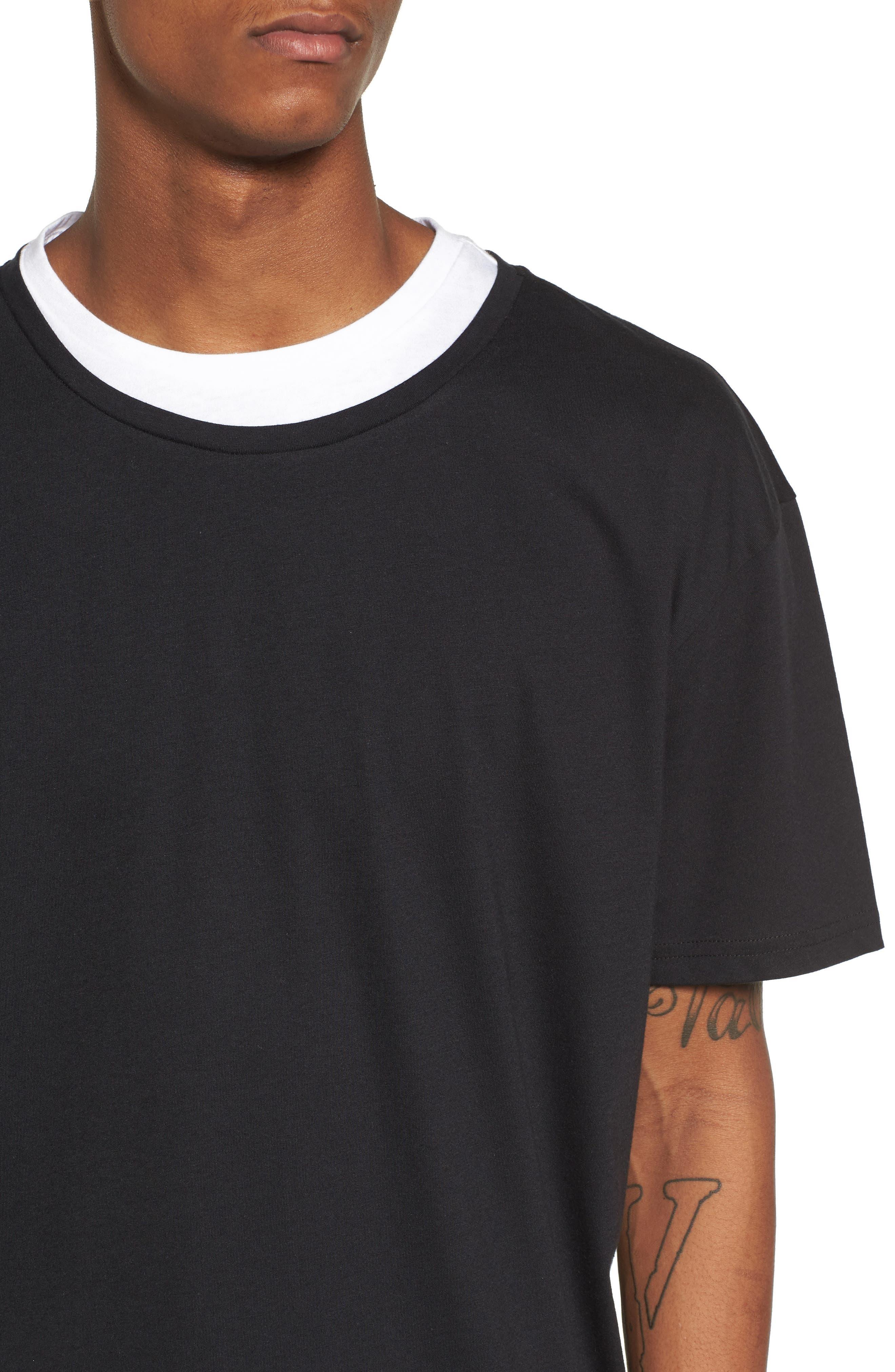 Double Layer T-Shirt,                             Alternate thumbnail 4, color,                             Black/ White