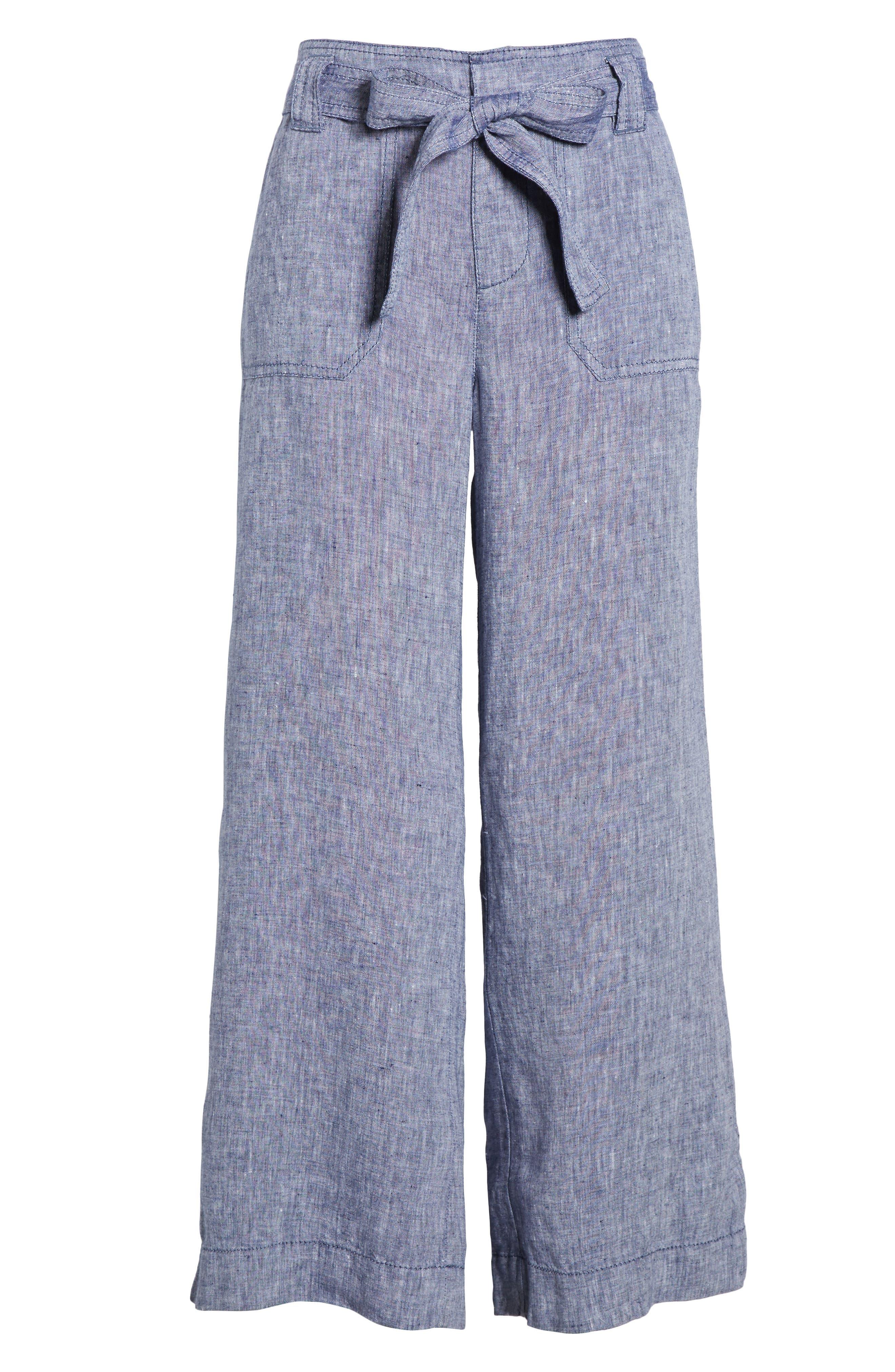 Wide Leg Crop Linen Pants,                             Alternate thumbnail 7, color,                             Navy Crossdye